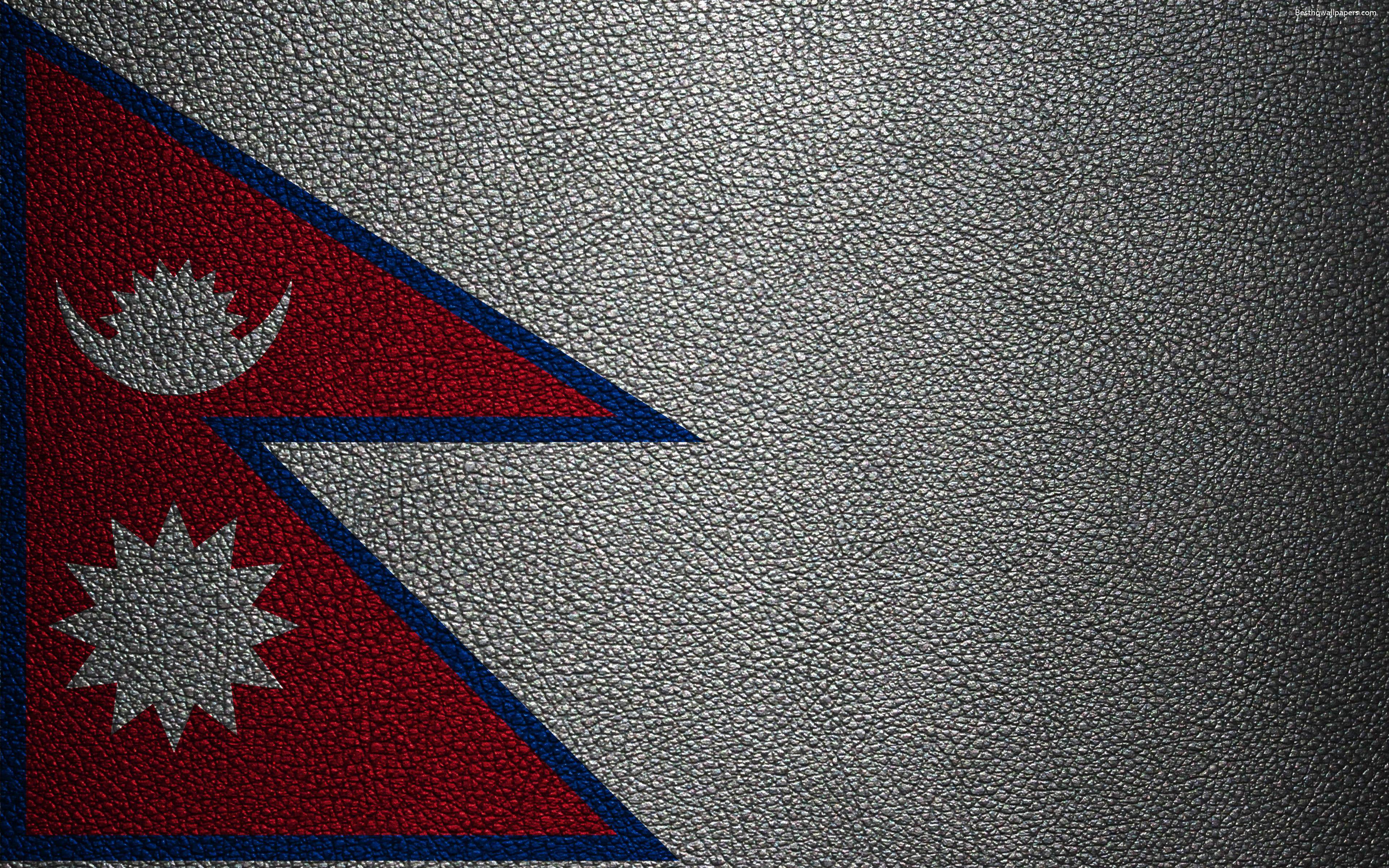 Download wallpapers Flag of Nepal, 4k, leather texture, Nepalese