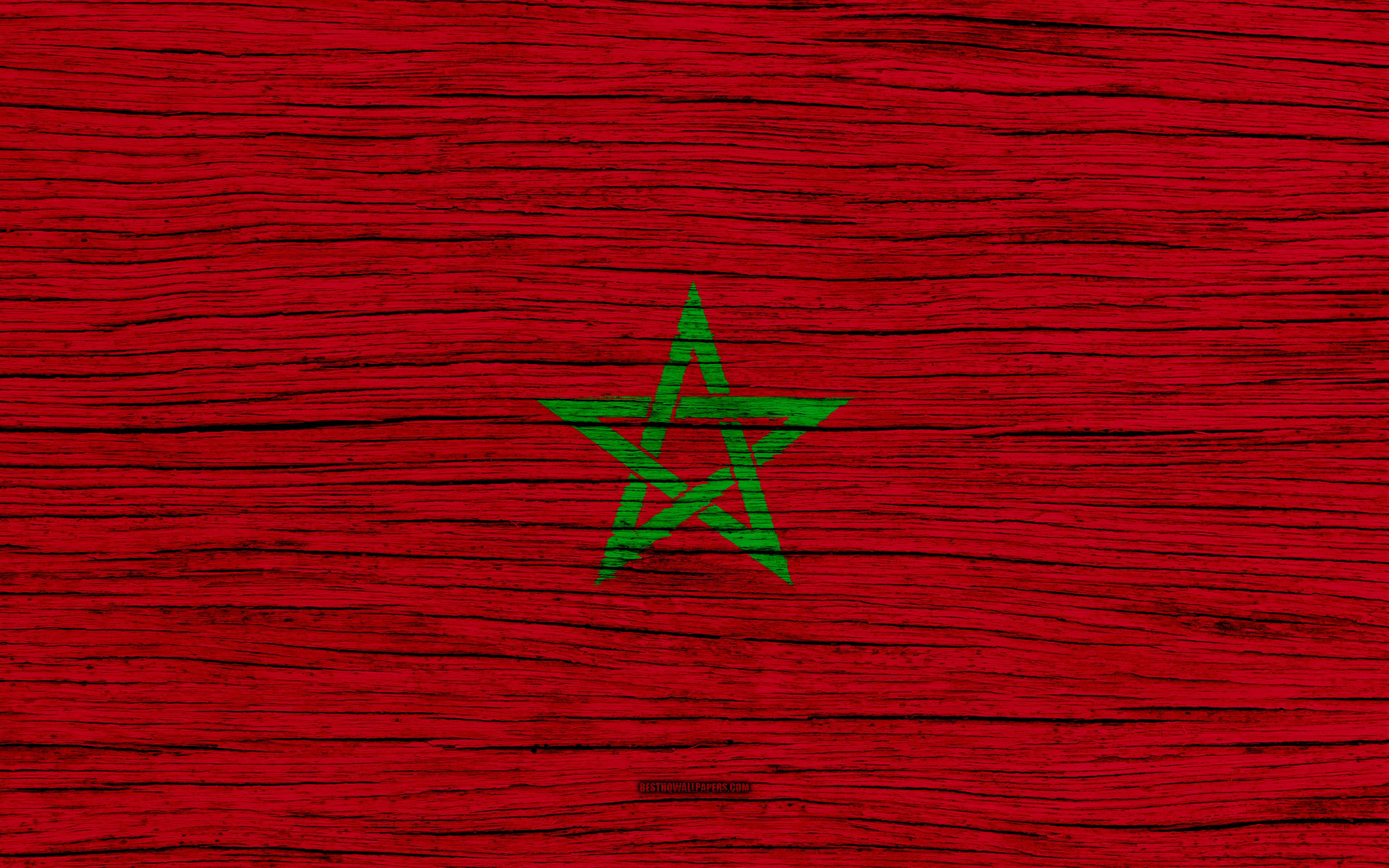 Download wallpapers Flag of Morocco, 4k, Africa, wooden texture