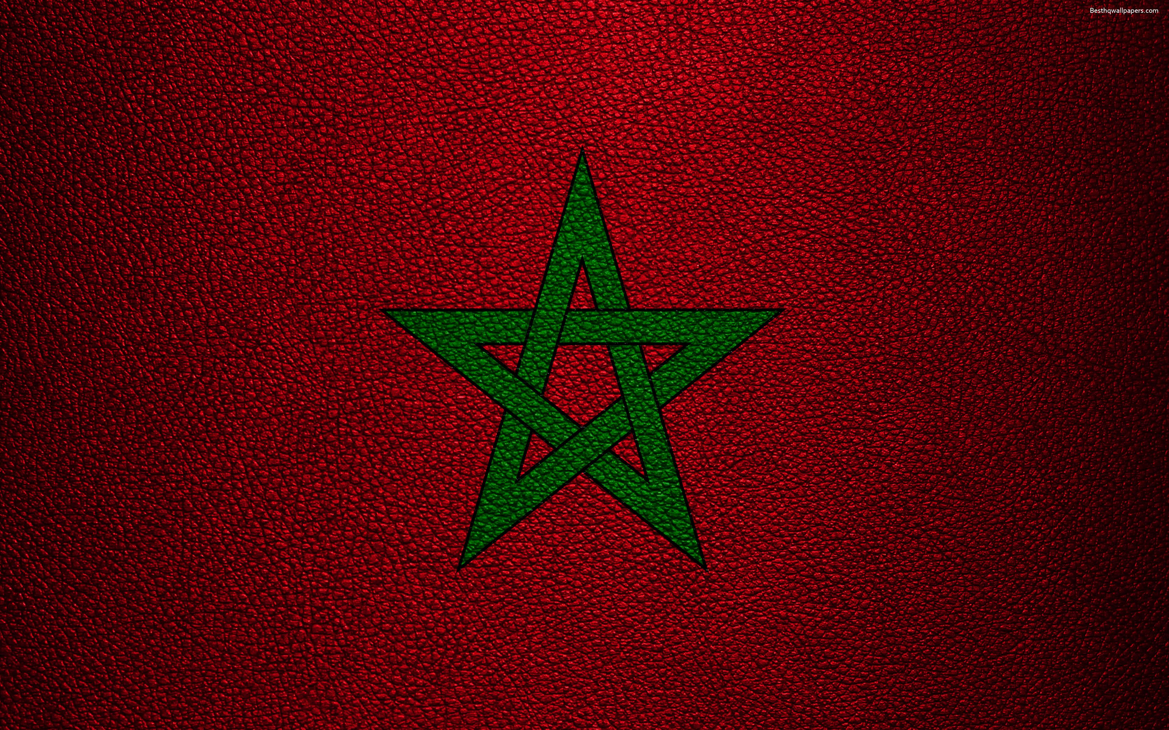 Download wallpapers Flag of Morocco, 4k, leather texture, Africa