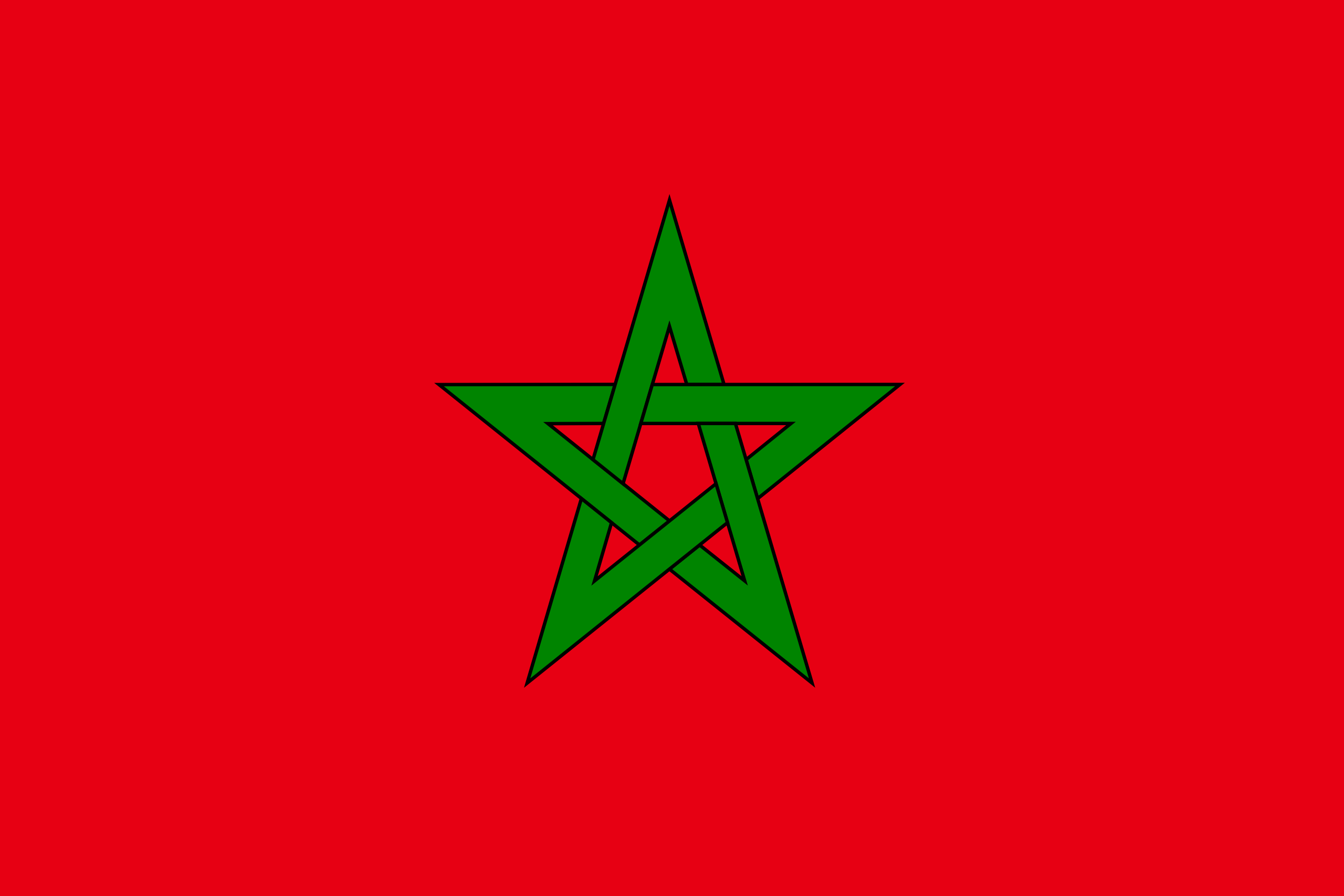 The flag of Morocco consists of a red base with a green outlined