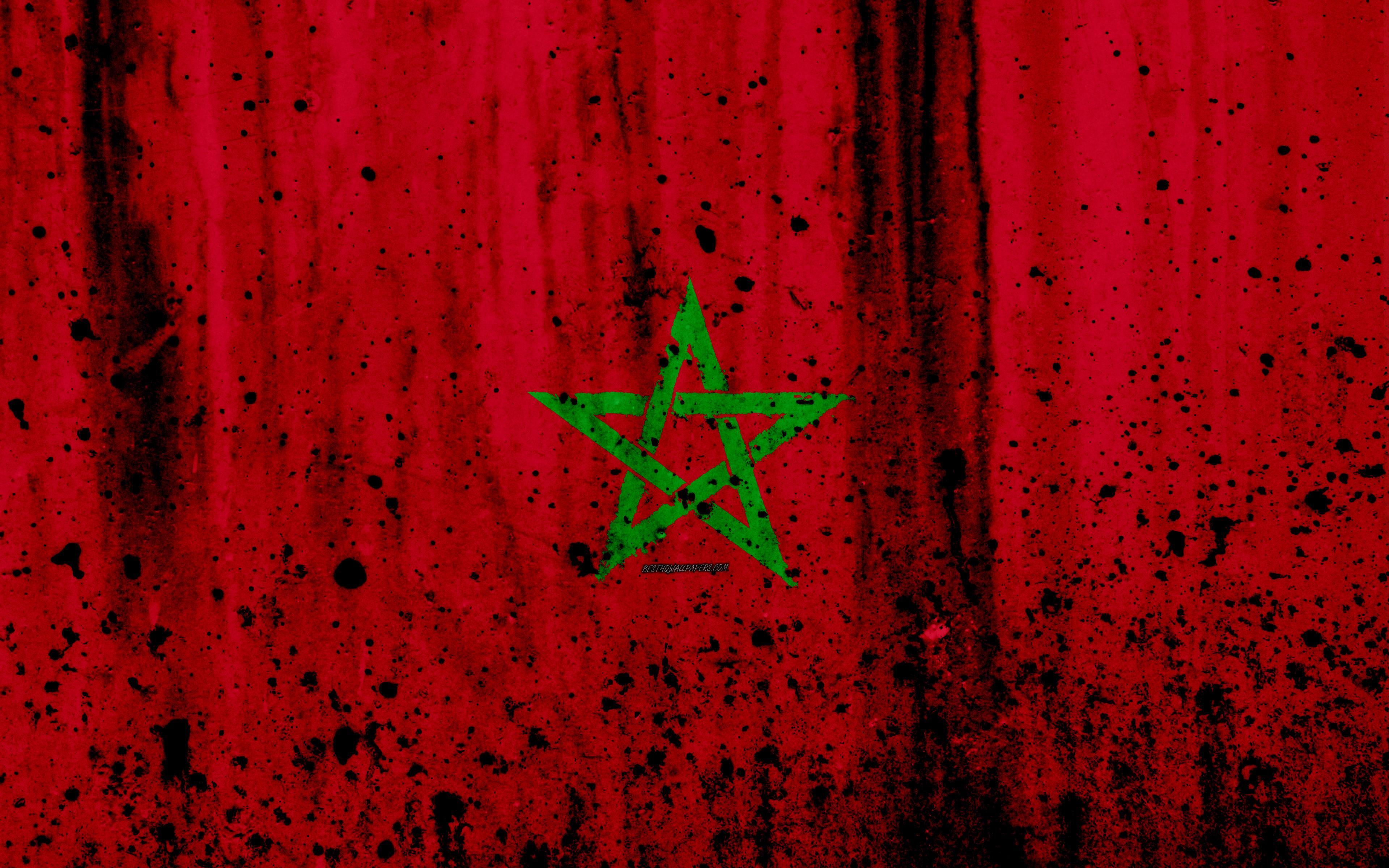 Download wallpapers Moroccan flag, 4k, grunge, flag of Morocco