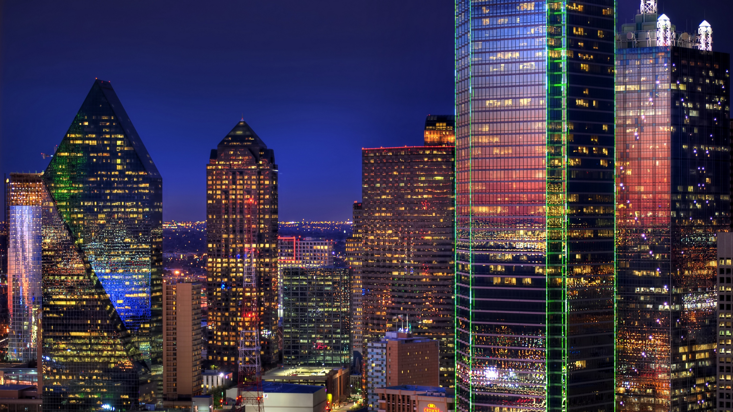 Download wallpapers 2560x1440 dallas, skyscrapers, buildings, night