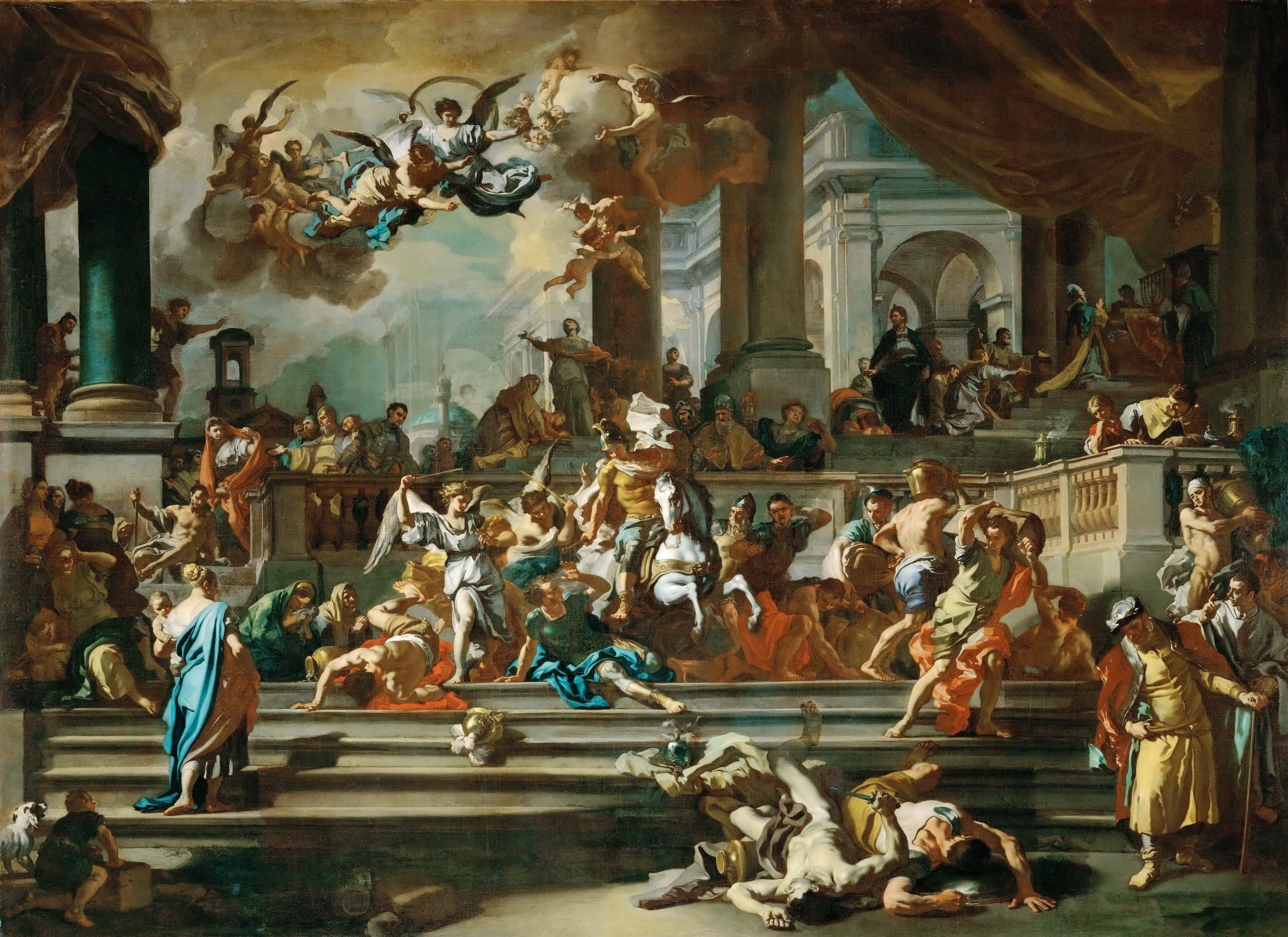 christian solimena wallpapers louvre paintings painting angel artwork battle religion temple angels thread expulsion eliodoro francesco hermon mount antiquity dreaming