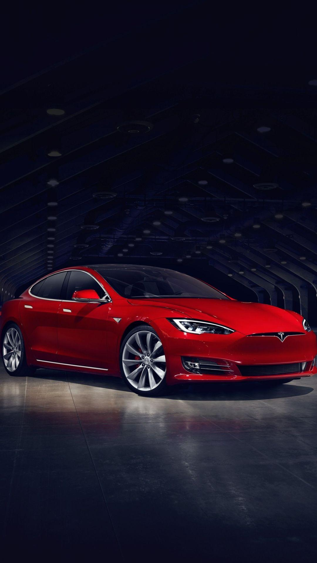 2016 Red Tesla Model S No Grill