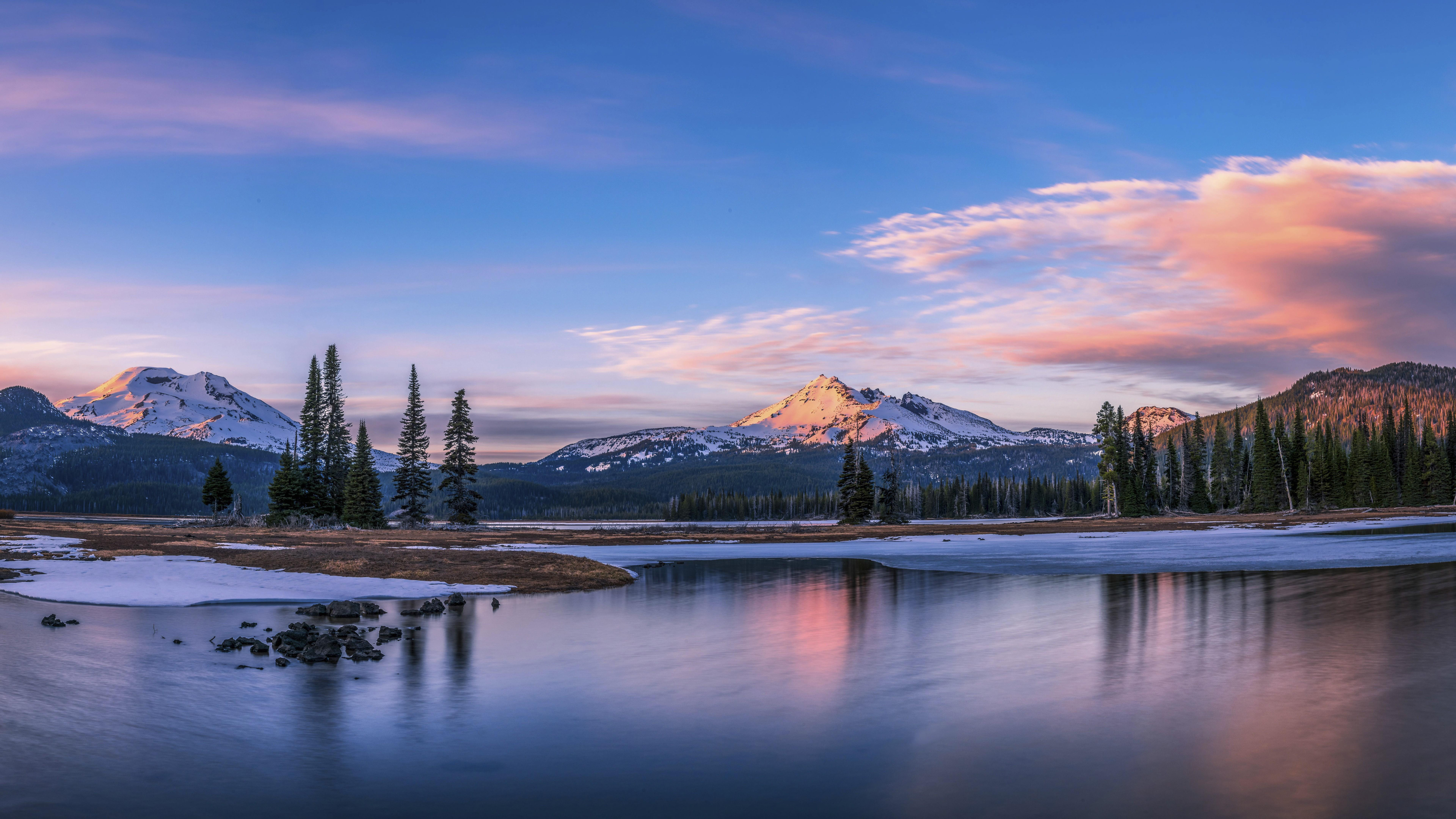 Wallpapers Sparks Lake, 5k, 4k wallpaper, 8k, Oregon, USA, mountains