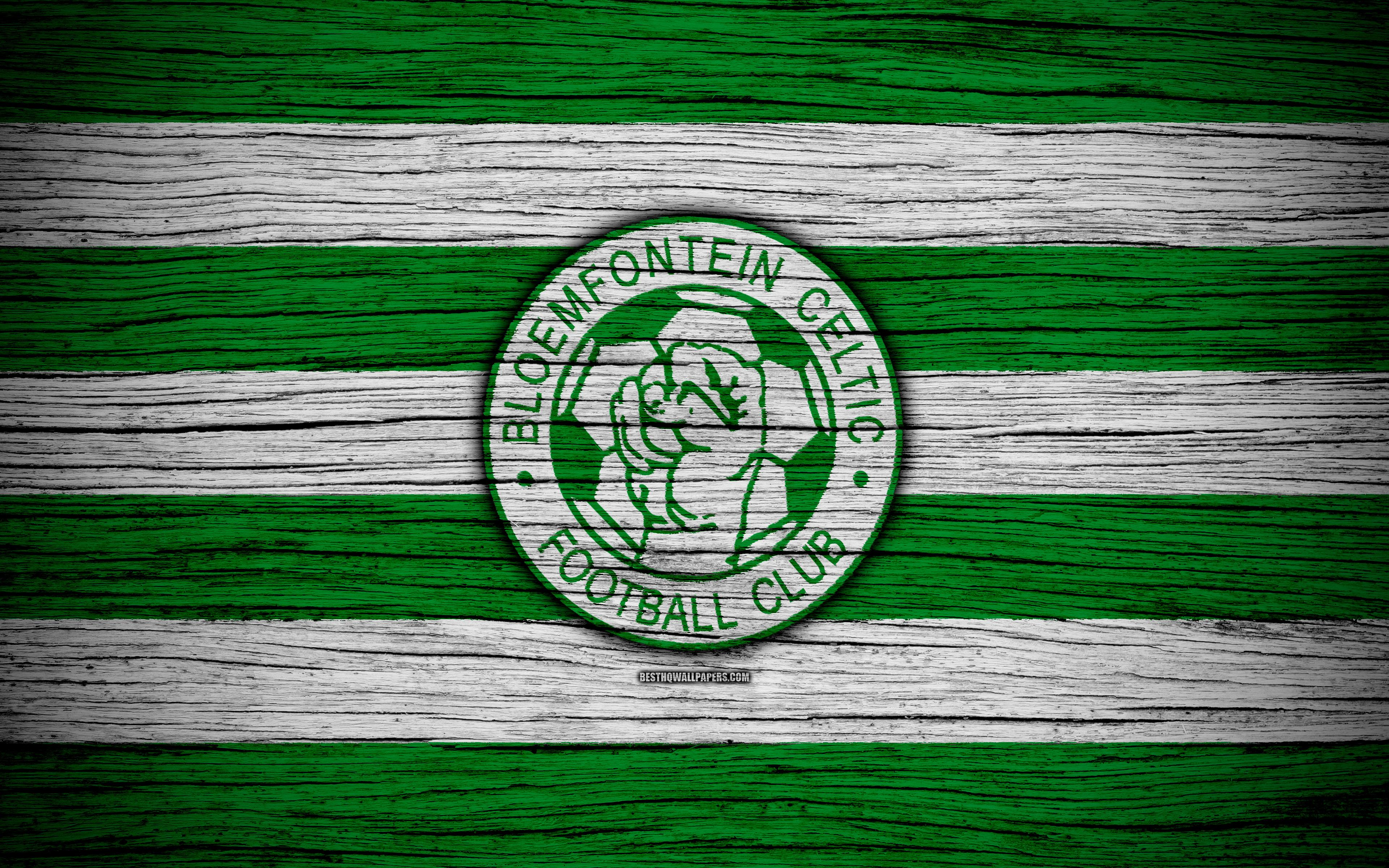 Download wallpapers FC Bloemfontein Celtic, 4k, wooden texture