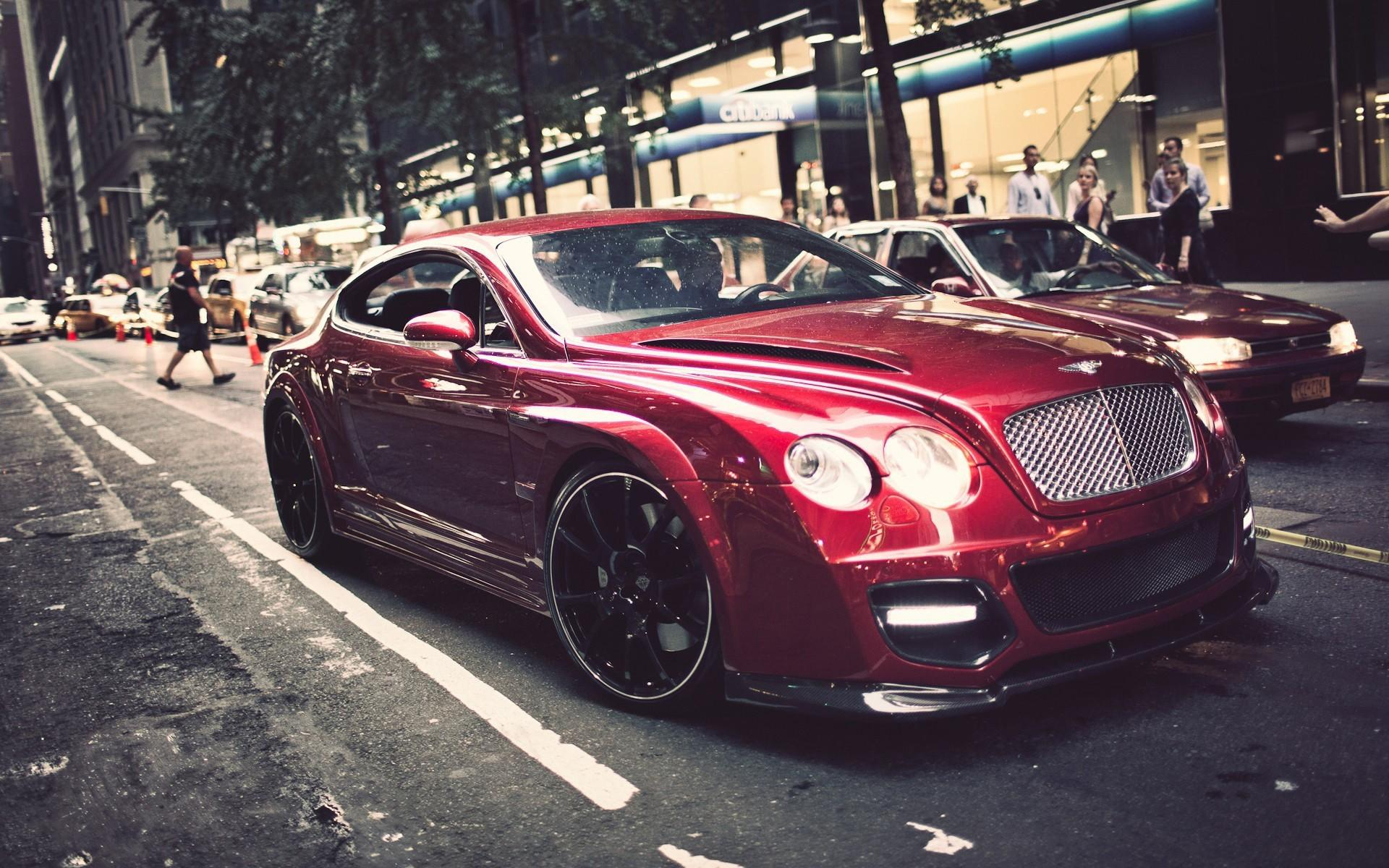 Red Bentley on the street