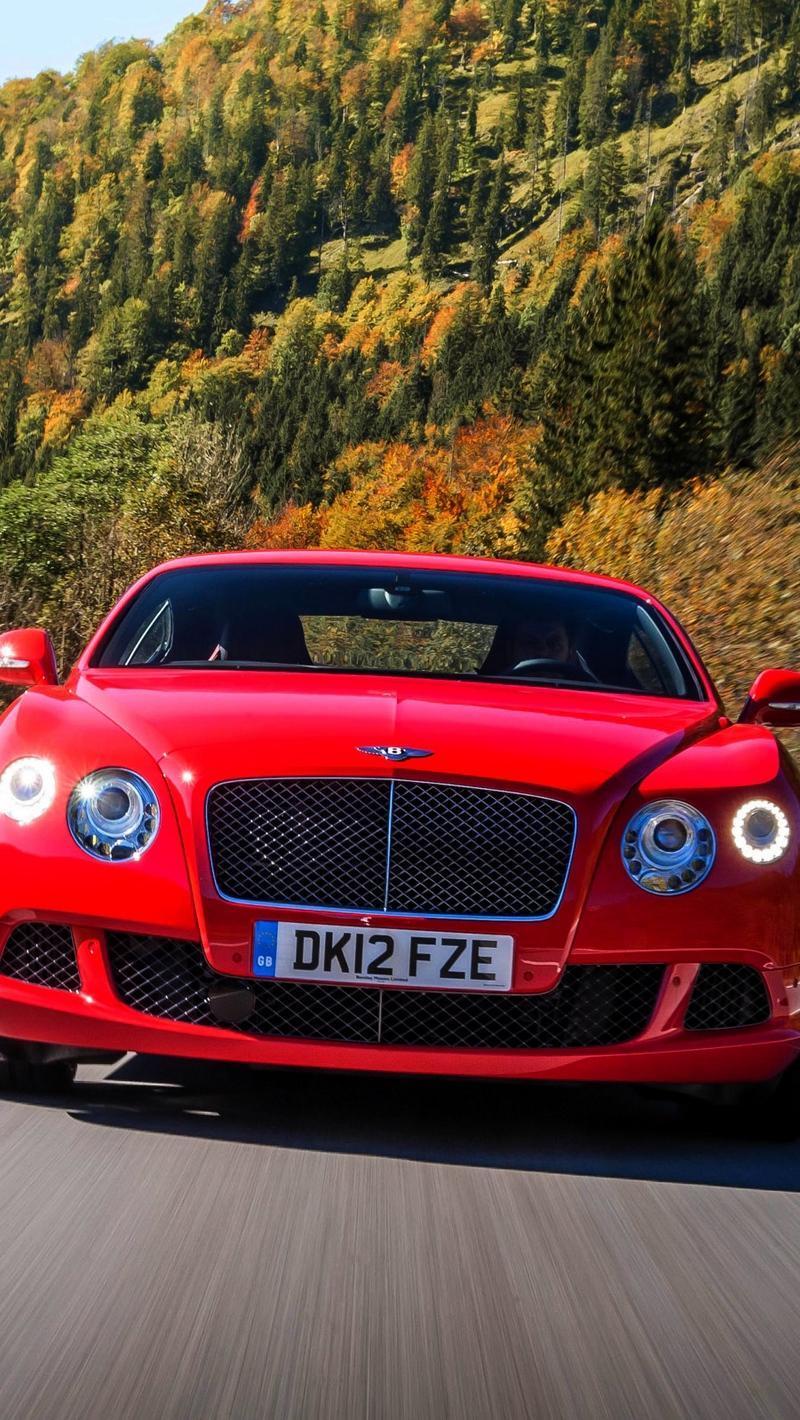 Download wallpapers 800x1420 bentley, continental, gt, red, front