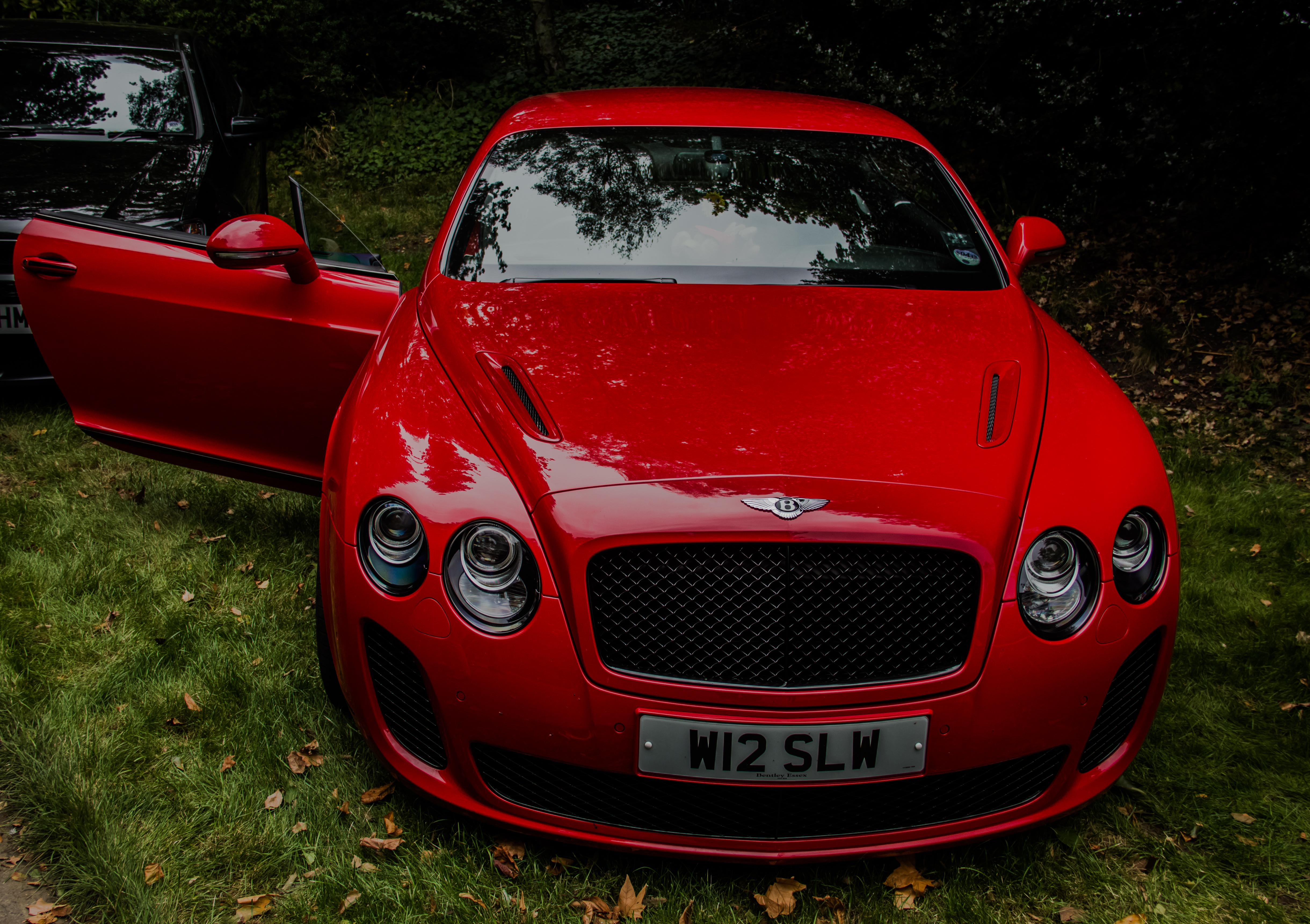 Download wallpapers 4879x3441 bentley continental gt, red, front view
