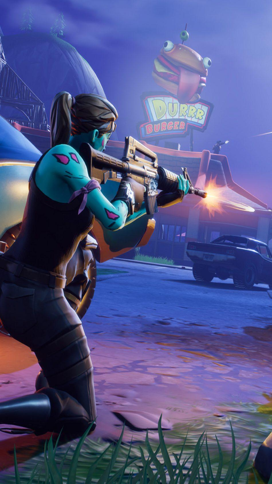 Download Fortnite Battle Royale Female Player Firing Free Pure 4K ...