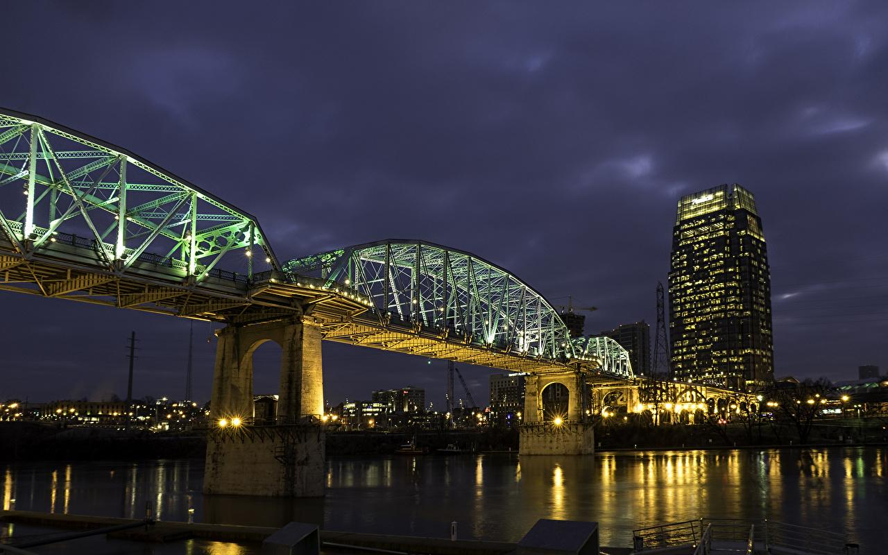 Wallpapers USA Nashville Tennessee Bridges Night Rivers Street