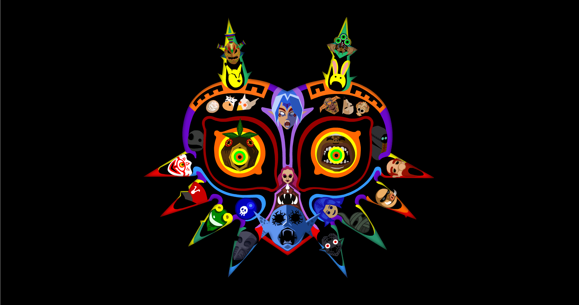 Majora's Mask Wallpapers featuring all the masks