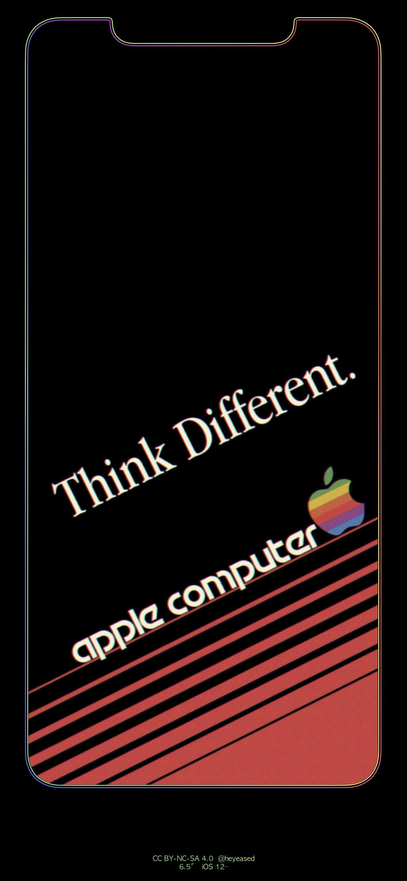 Retro Apple Computer border wallpapers for iPhone XS Max