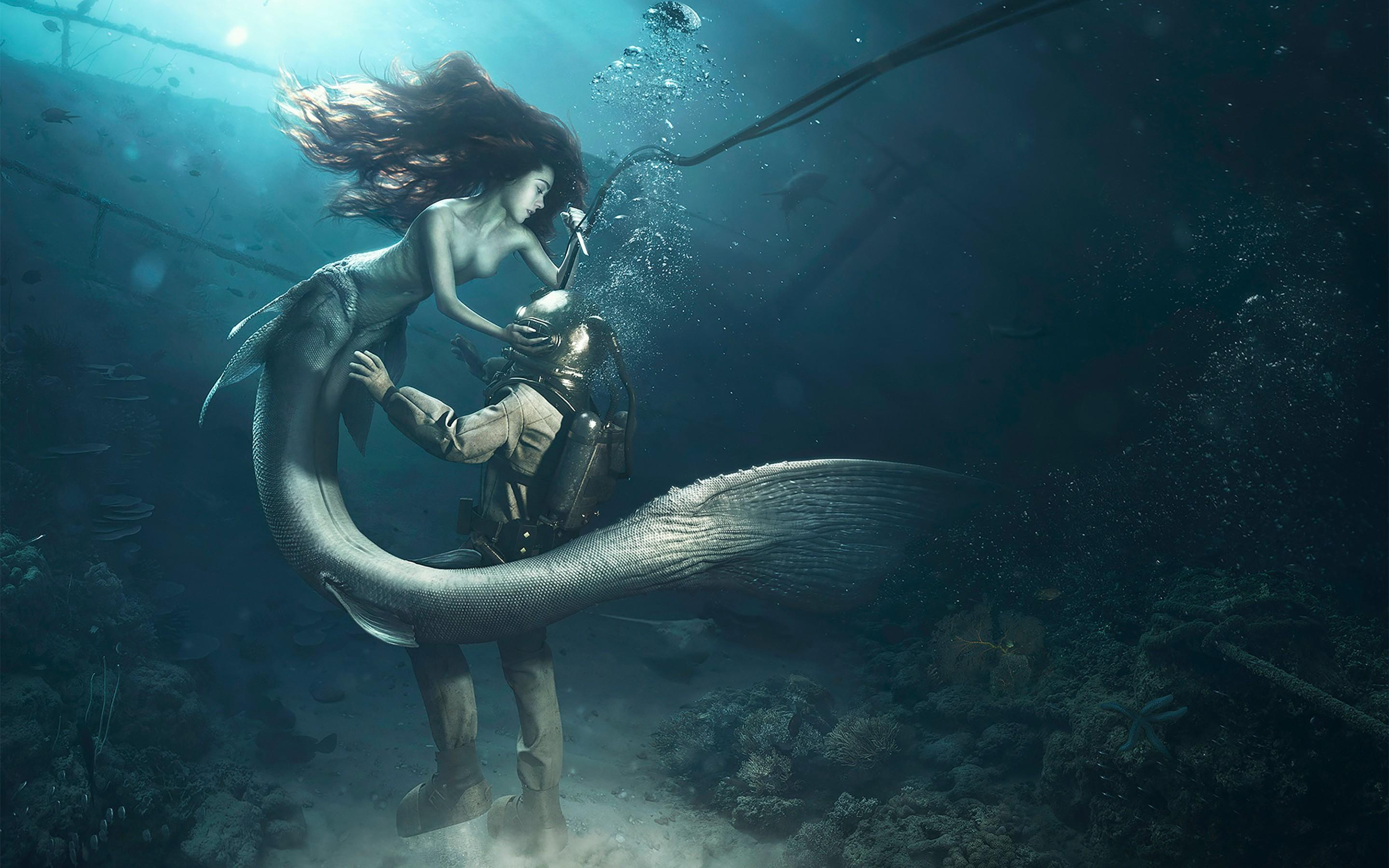 1336x768 Diver and The Mermaid Laptop HD HD 4k Wallpapers, Image