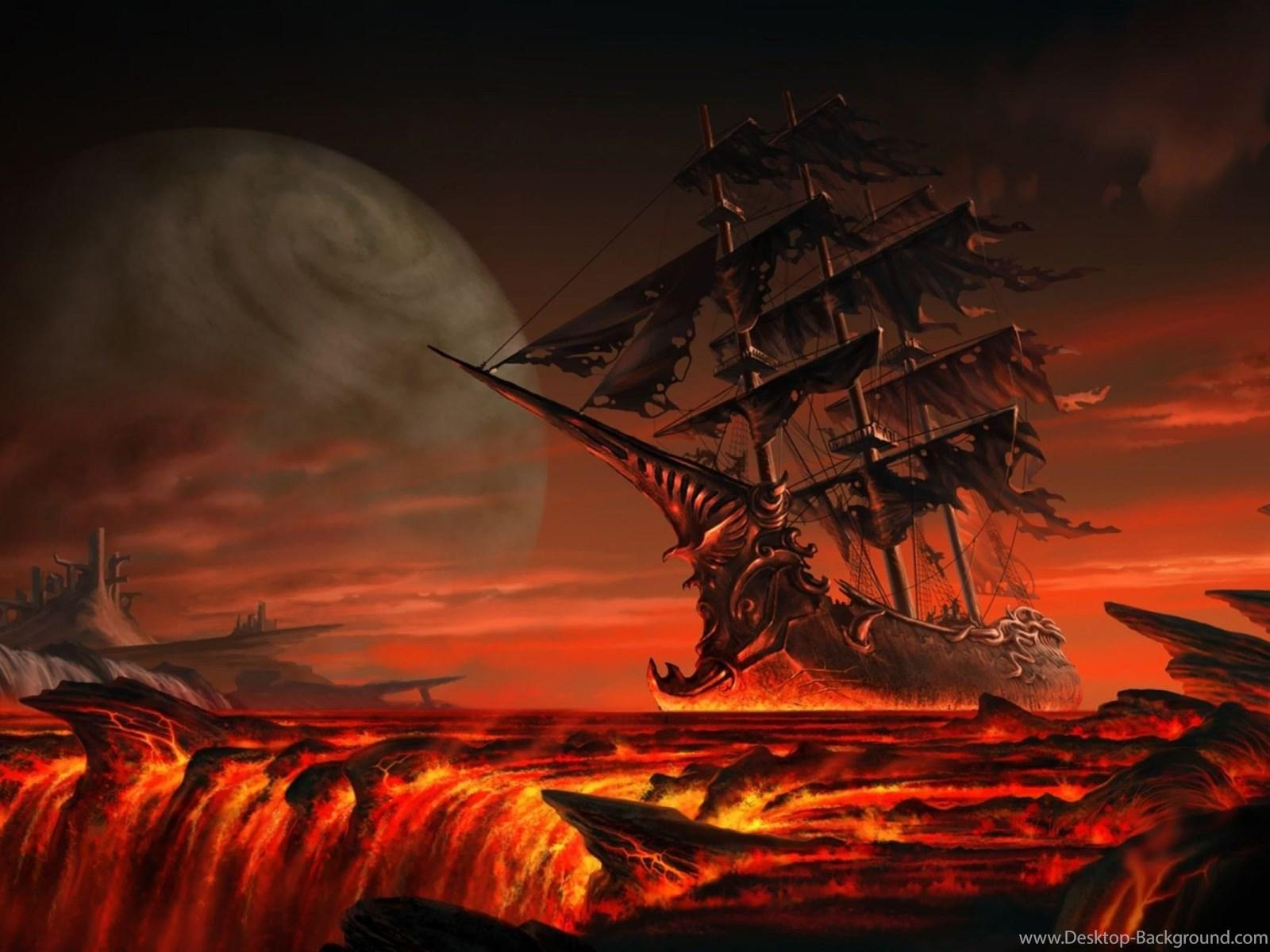 Ghost Ship Floating On Lava Wallpapers Fantasy Wallpapers Desktop