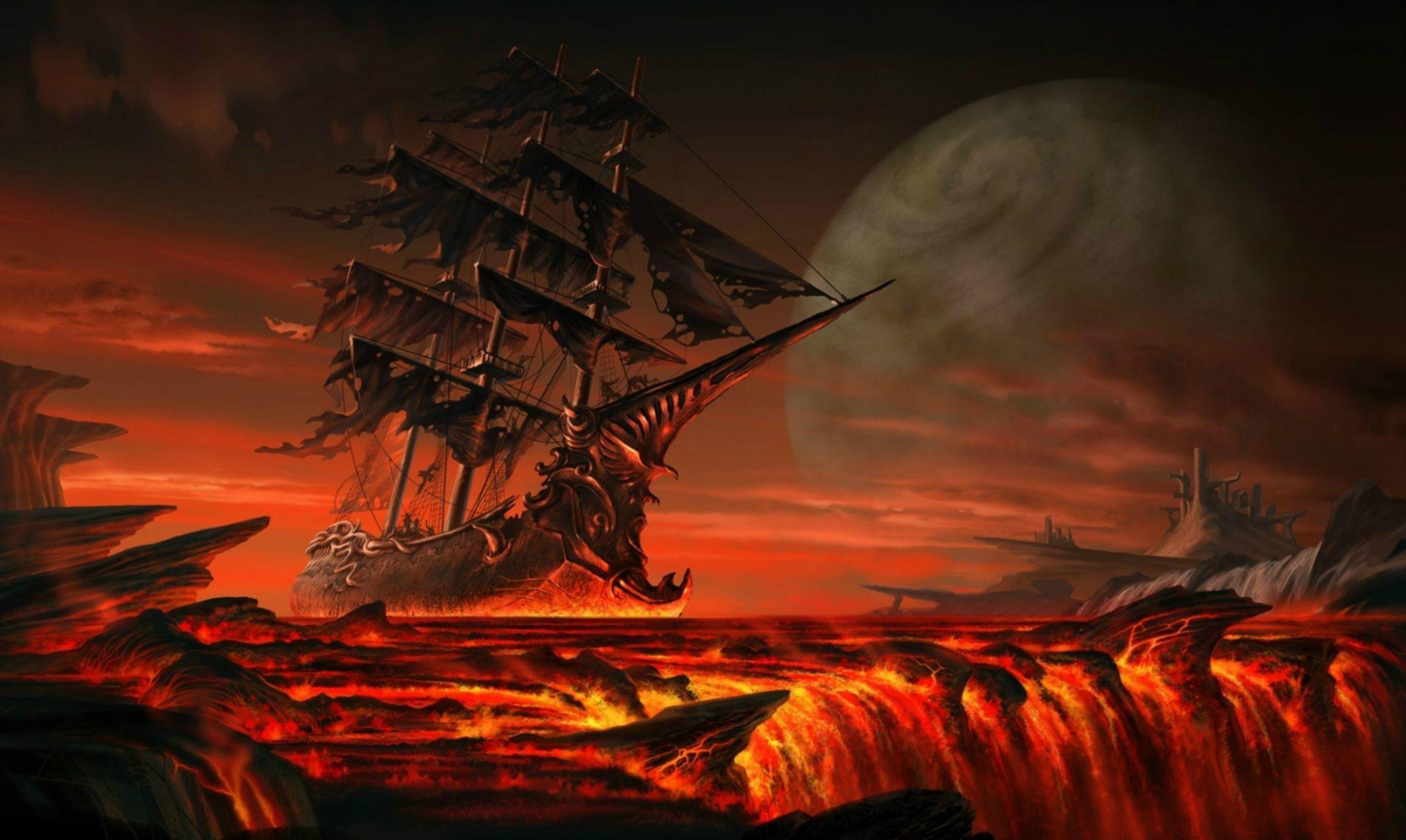Ship sailing on lava : wallpapers