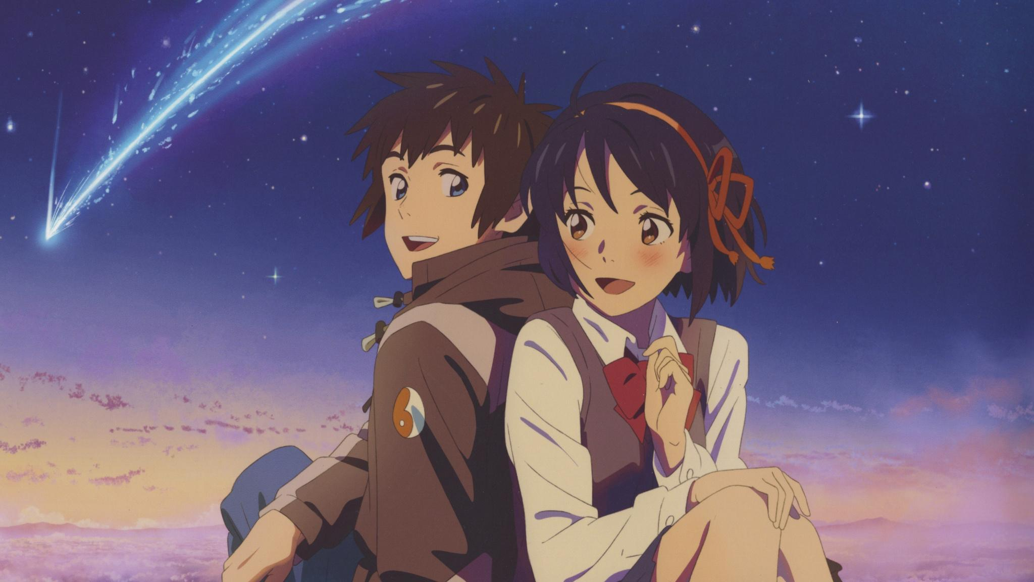 Download 2048x1152 wallpapers cute couple, mitsuha miyamizu, taki