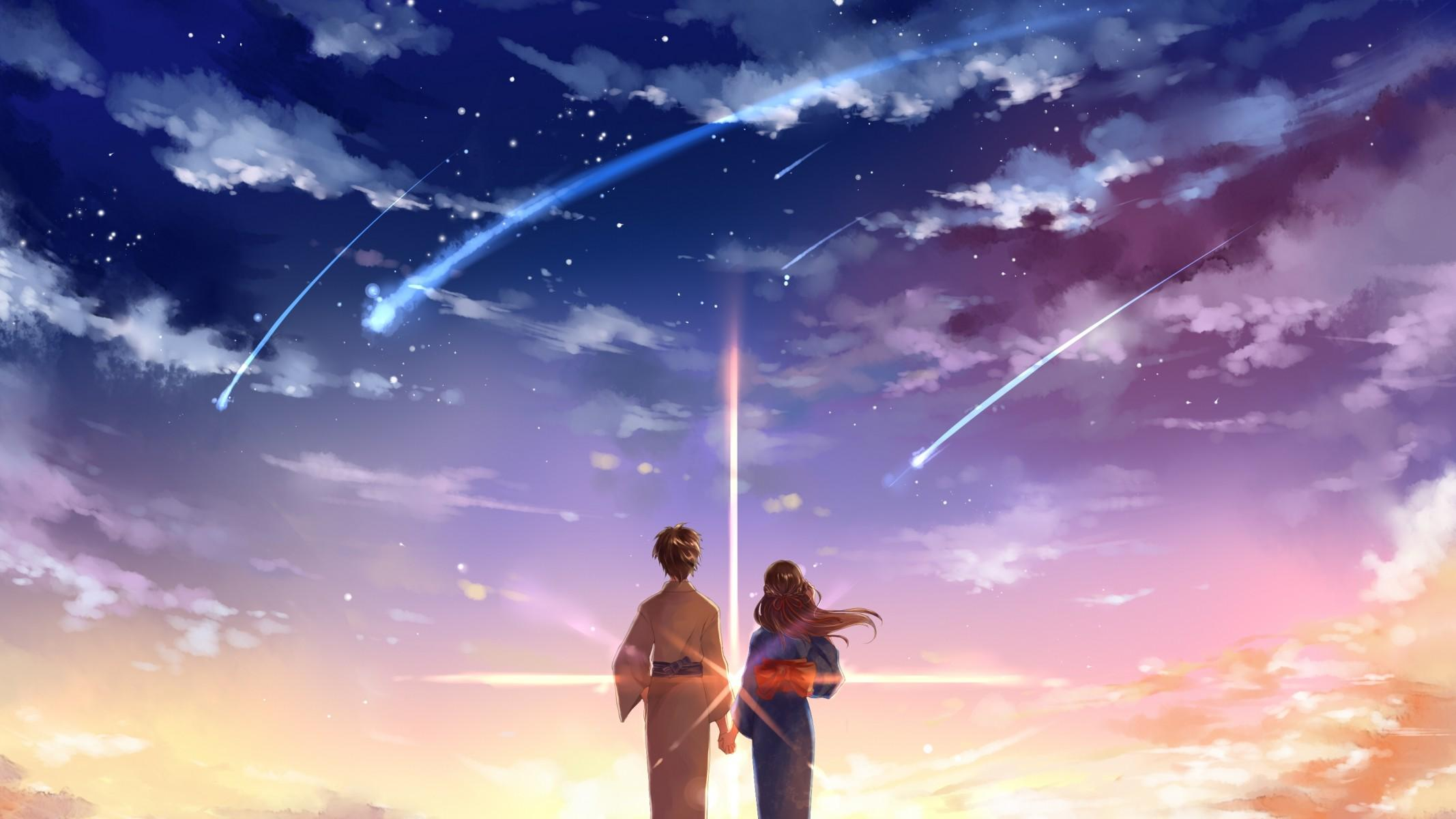 Download 2134x1200 Your Name, Kimi No Na Wa, Mitsuha Miyamizu, Taki