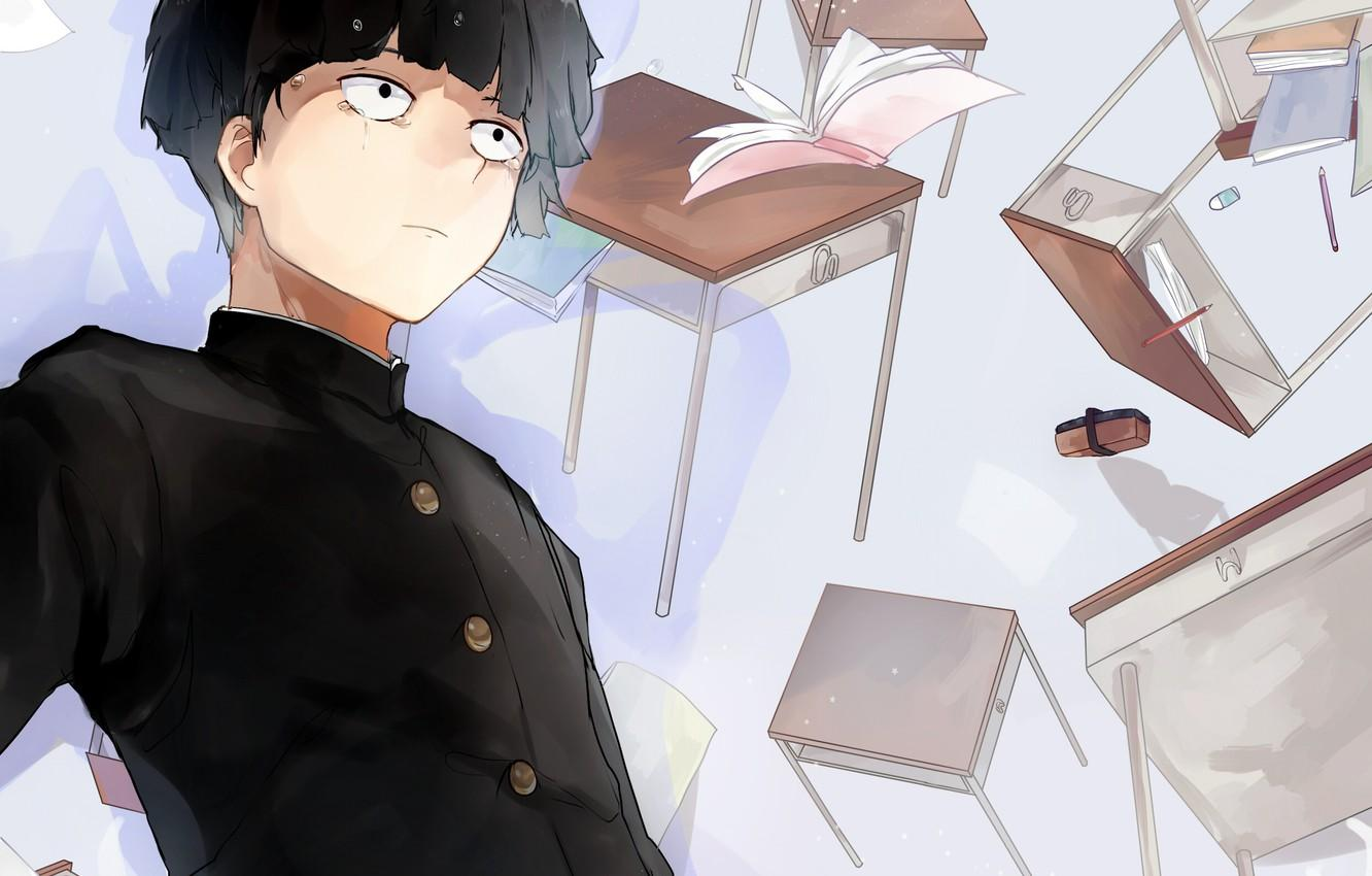 Wallpapers anime, art, guy, school, Mob Psycho 100, Kageyama Shigeo