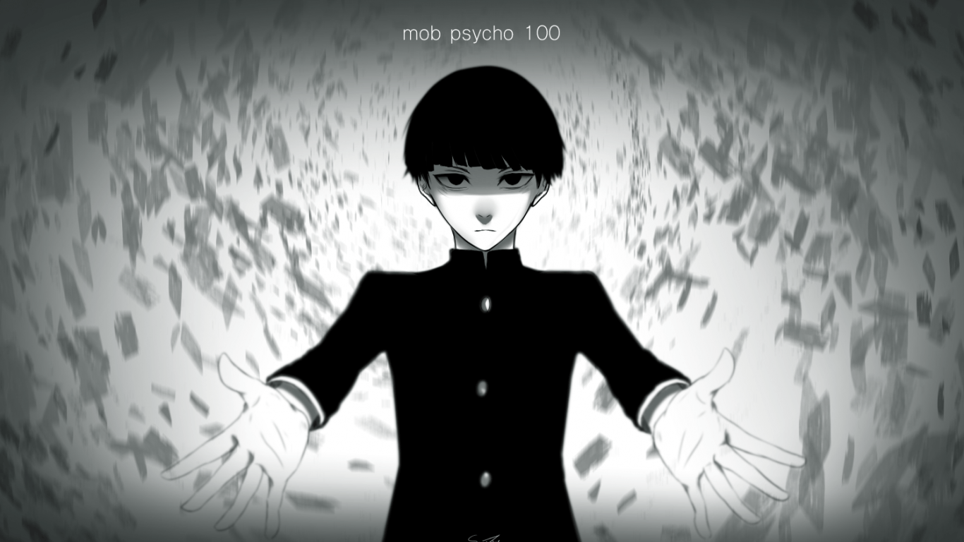 Download 1366x768 Mob Psycho 100, Shigeo Kageyama, Black And White