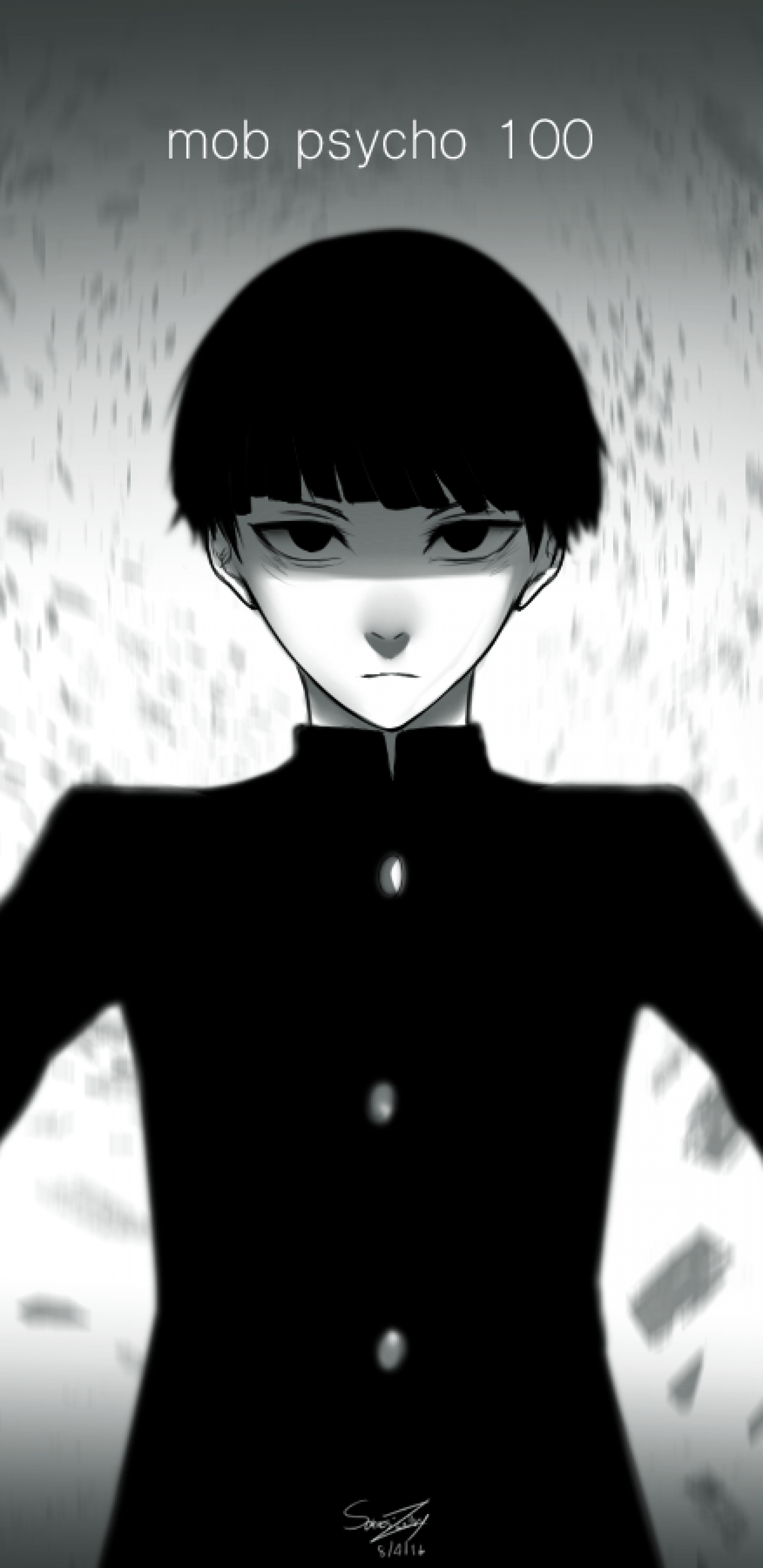 Download 1440x2960 Mob Psycho 100, Shigeo Kageyama, Black And White