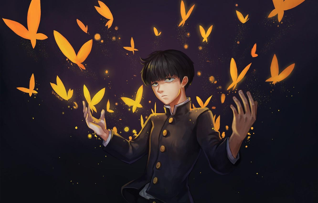 Wallpapers butterfly, anime, art, guy, Mob Psycho 100, Kageyama