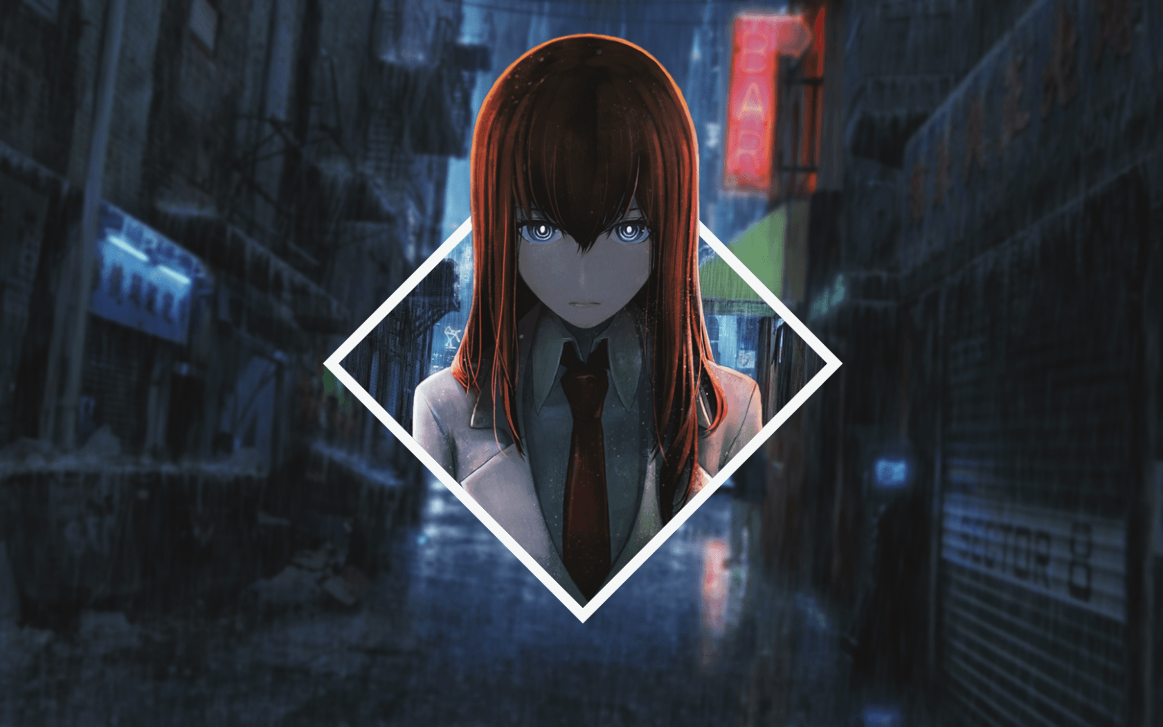 Download 1680x1050 Makise Kurisu, Steins Gate, Raining, Streets