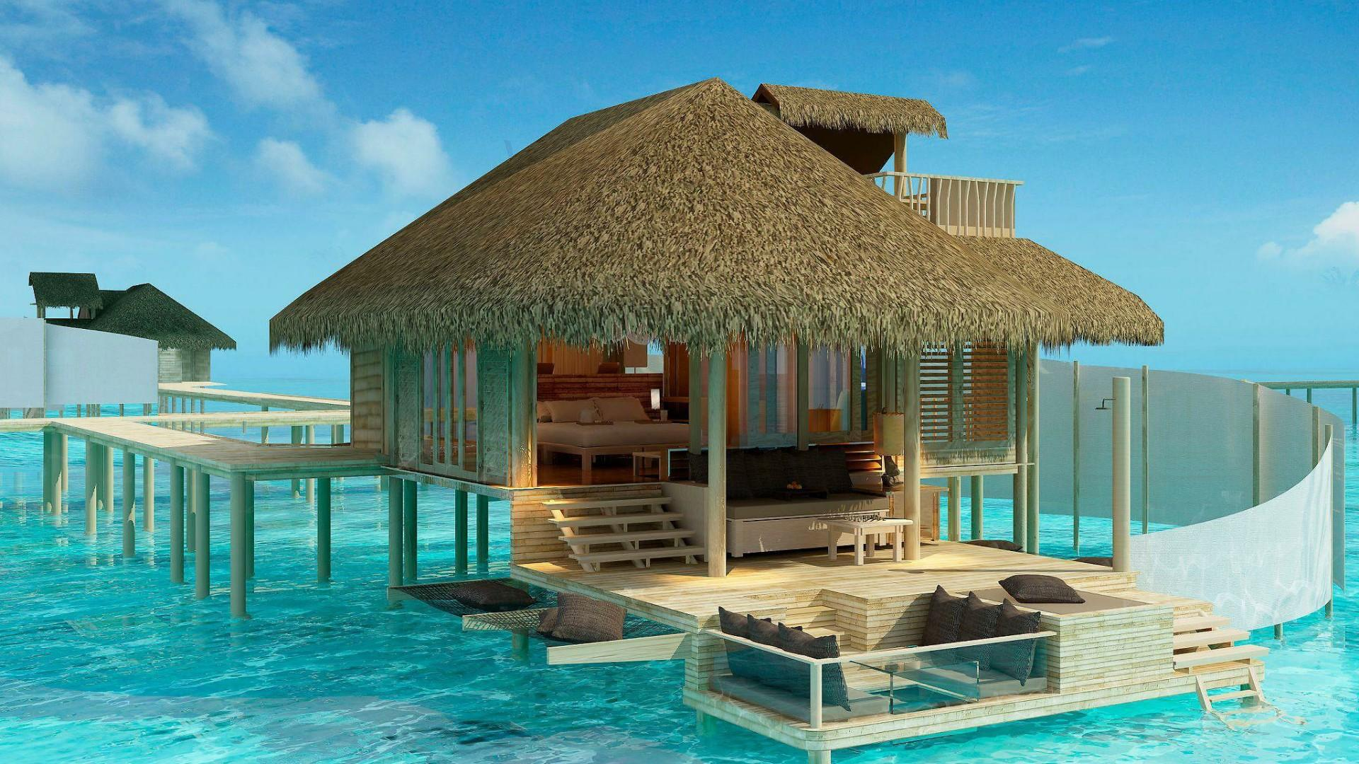 Overwater Bungalows In The Olhuveli Island, Maldives HD Wallpapers