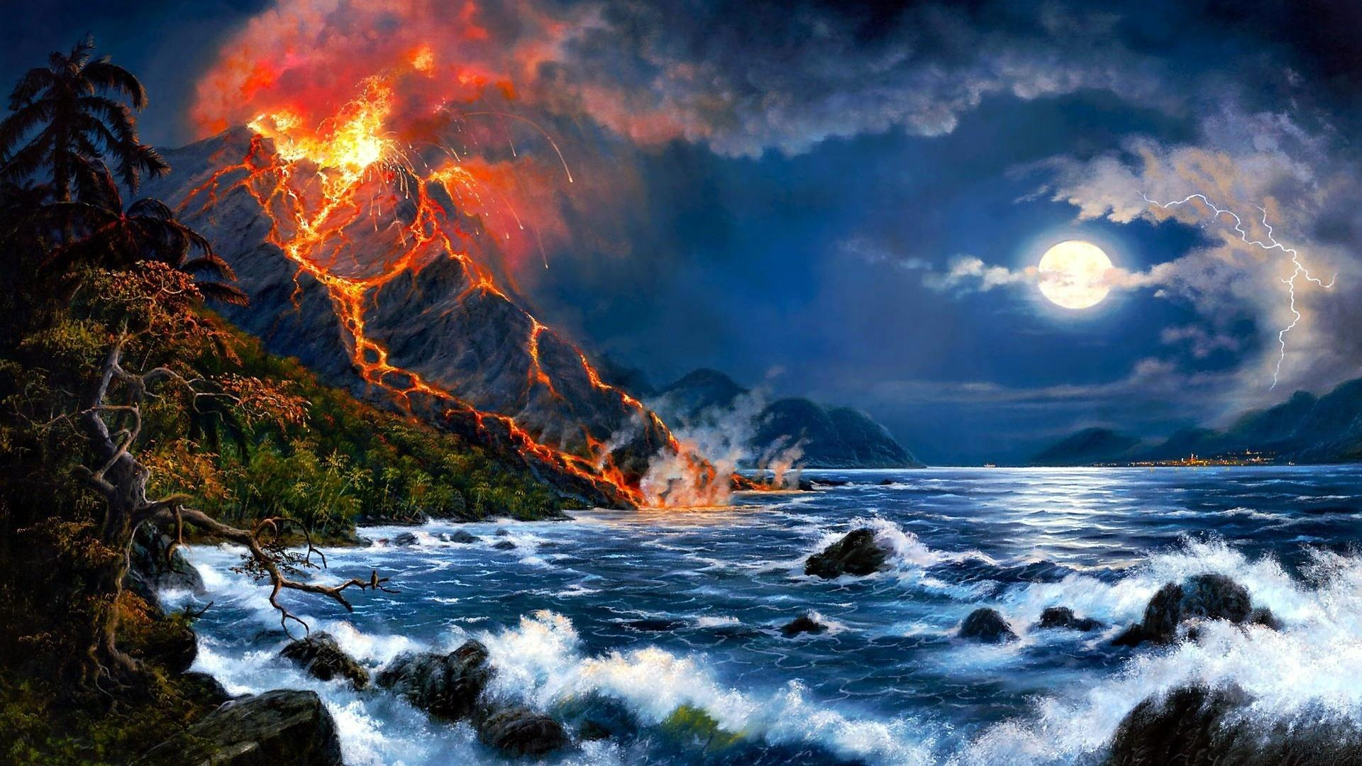 Erupting Volcano Oil Painting Art Picture Image Wallpapers HD Free