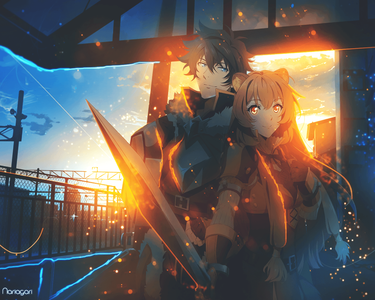 Download 1280x1024 Iwatani Naofumi, Raphtalia, Anime Couple, Cute