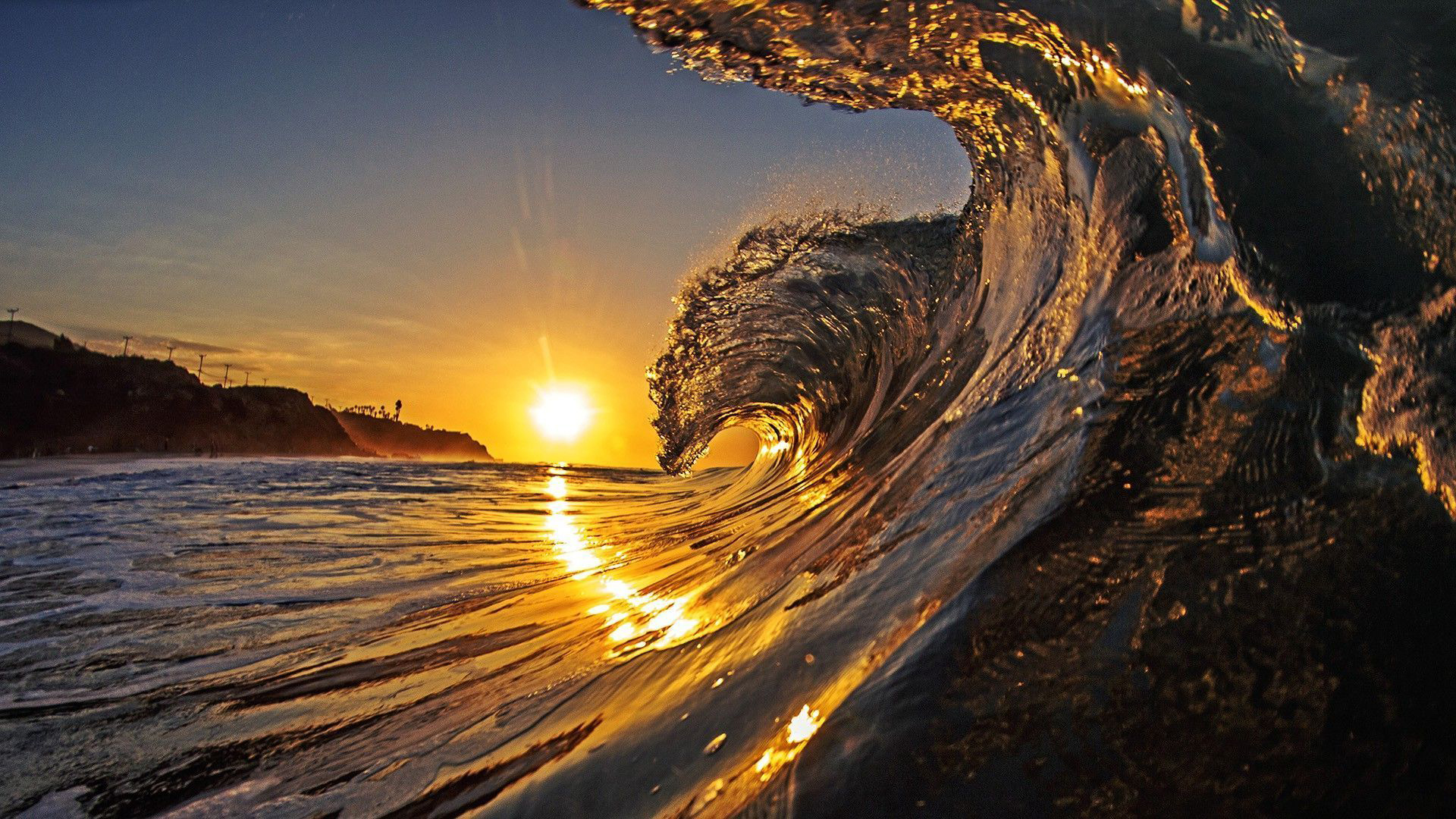 Wave in the sunset 1920x1080 beach wallpapers