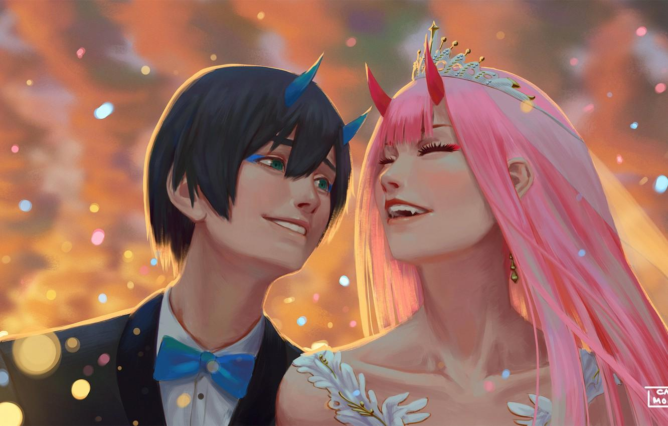 Wallpapers wedding, Hiro, Darling in the FranXX, Zero Two, by