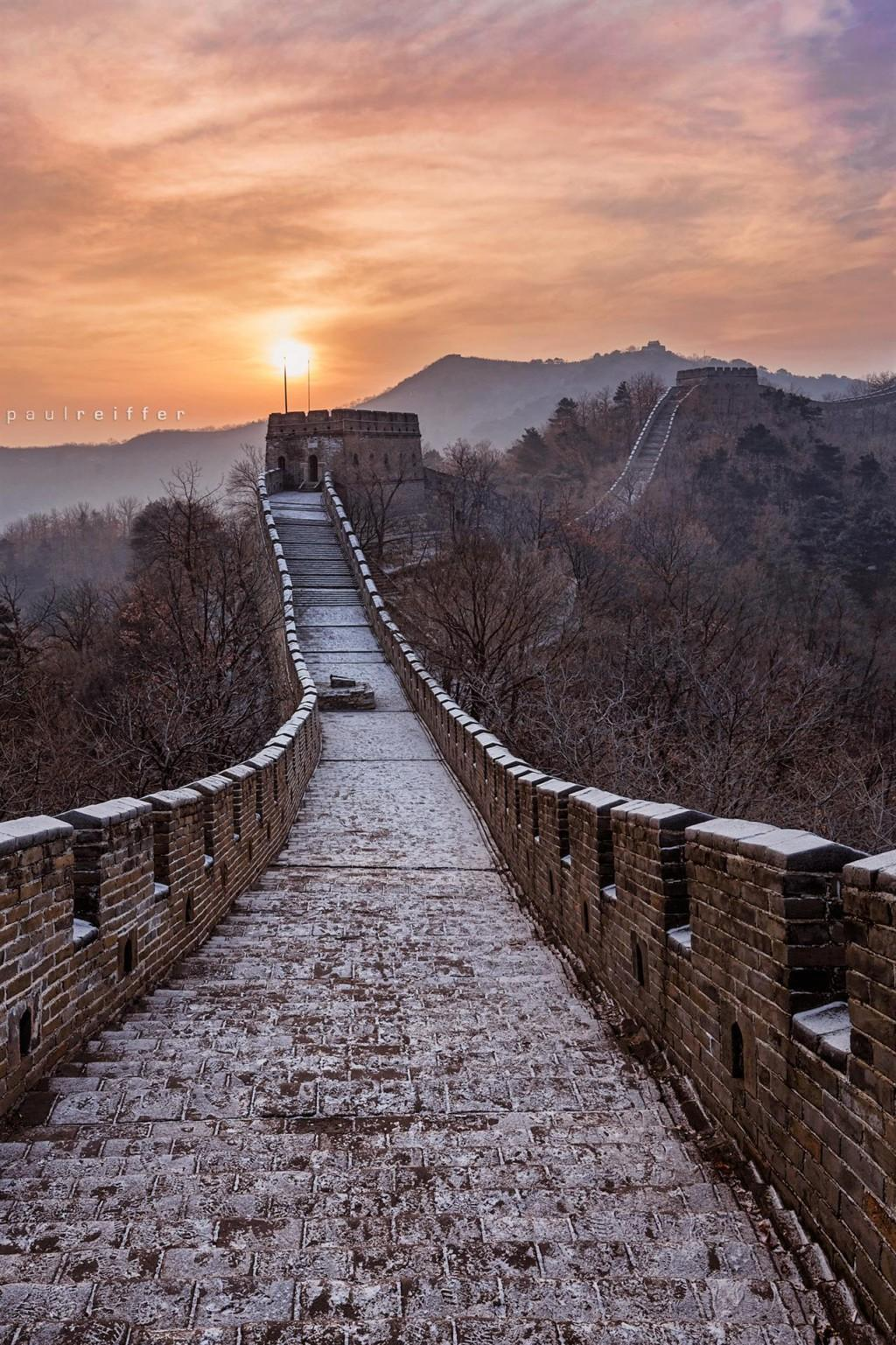 Great Wall Of China Sunris HD Wallpaper, Backgrounds Image