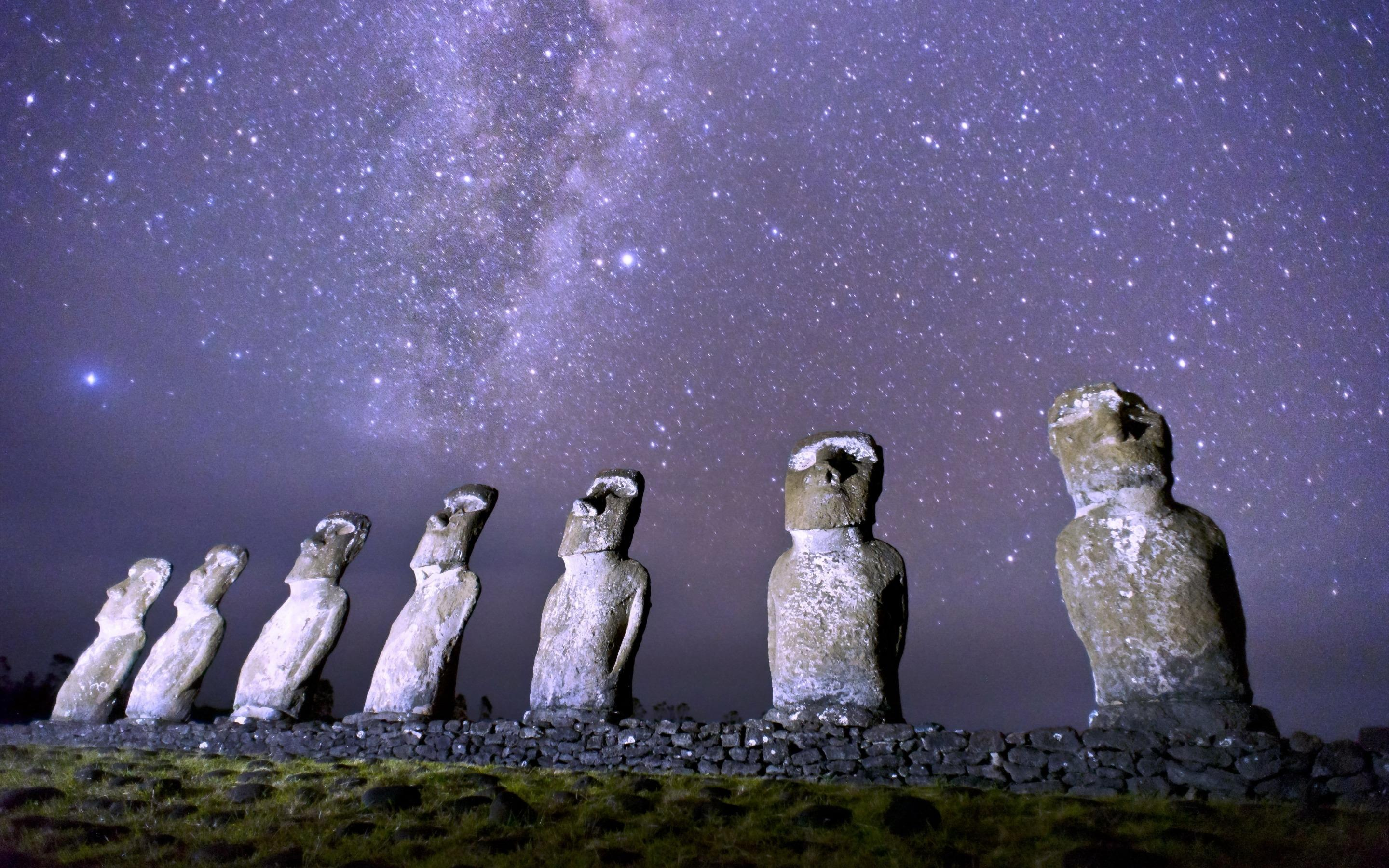 Wallpapers Magellanic clouds, Easter Island, Rapa Nui, Moai statues