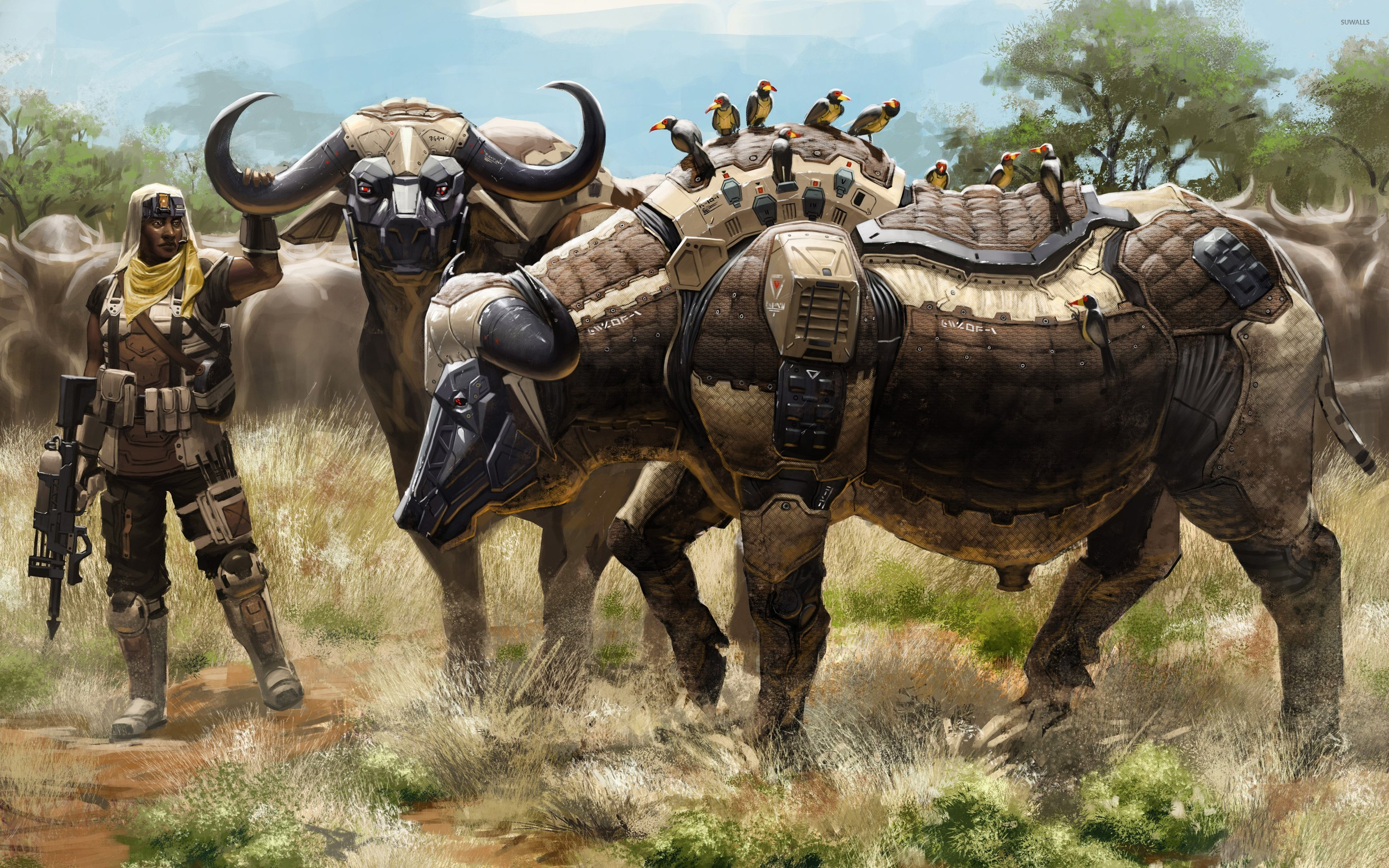 Soldier with robot buffalo herd wallpapers