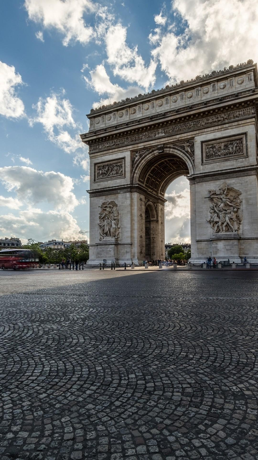 Download 1080x1920 Arc De Triomphe, France, Paris, Sky, Clouds