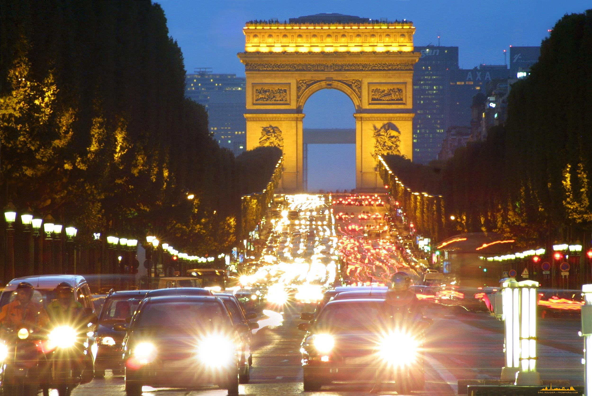 Arc de triomphe champs elysées paris architecture cars wallpapers