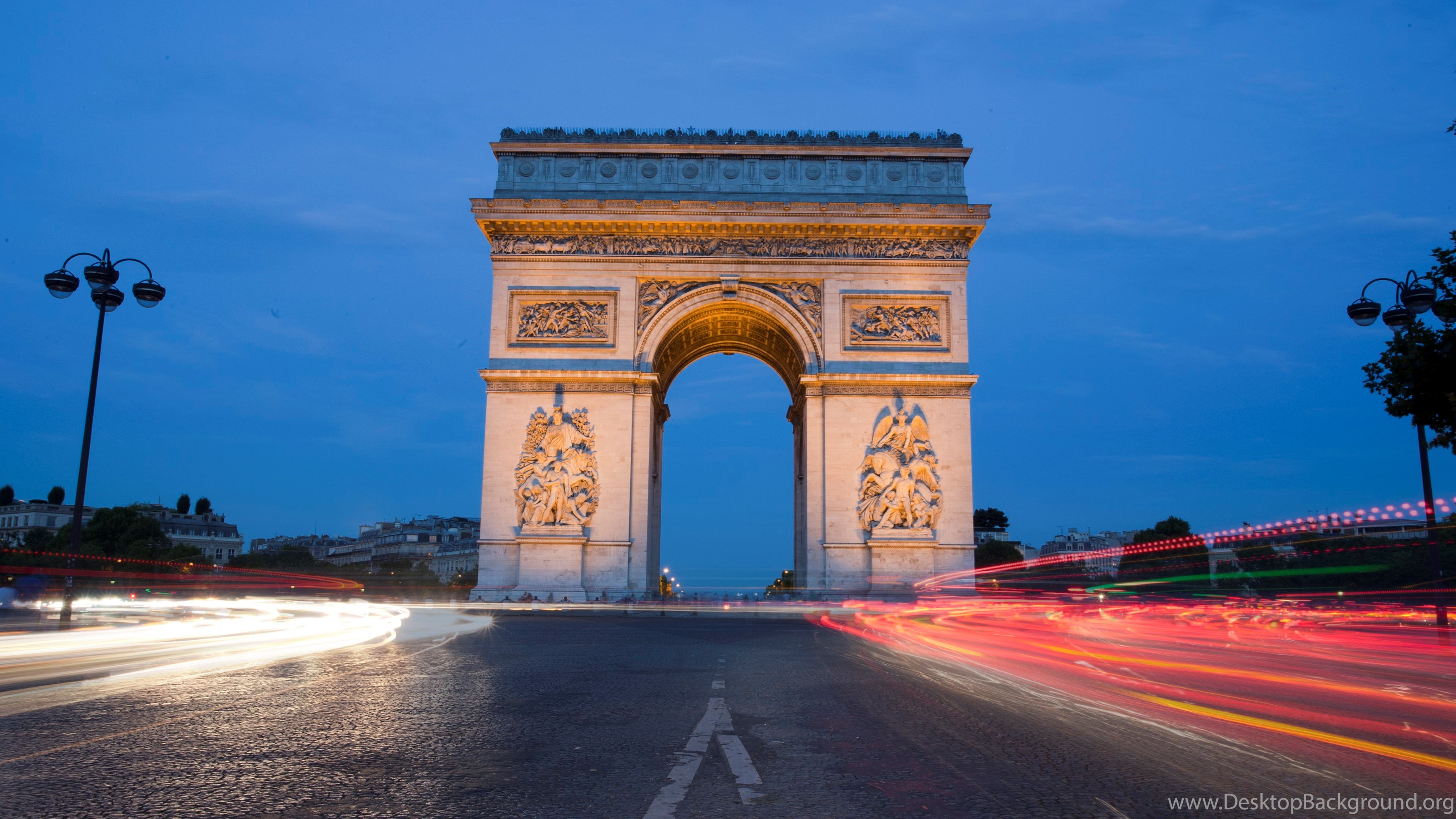 Arc De Triomphe From Paris At Twilight Wallpapers Desktop Backgrounds