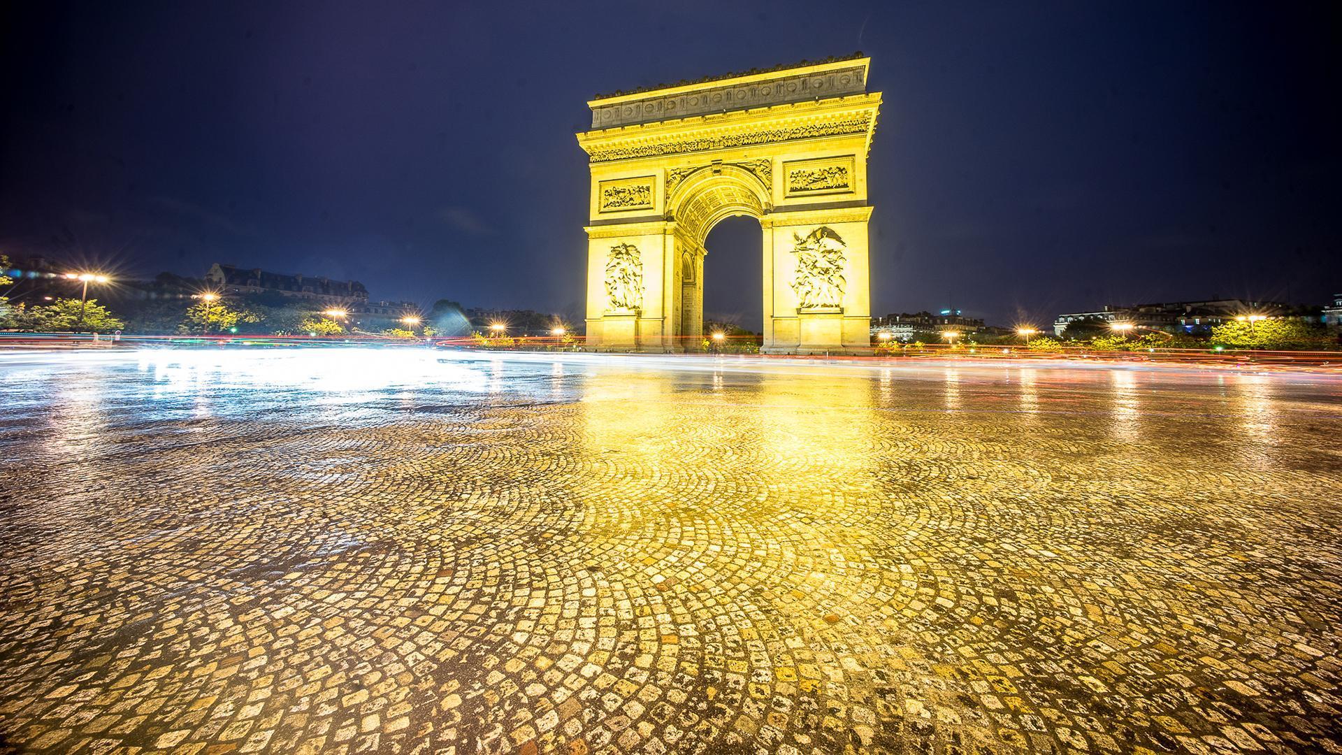 Paris Arc de Triomphe Night Timelapse HD wallpapers