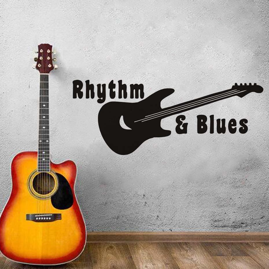 Rhythm Blues Guitar Music Vinyl Wall Stickers Kids Living Room