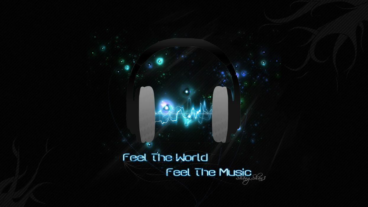 Headphones blue music wallpapers