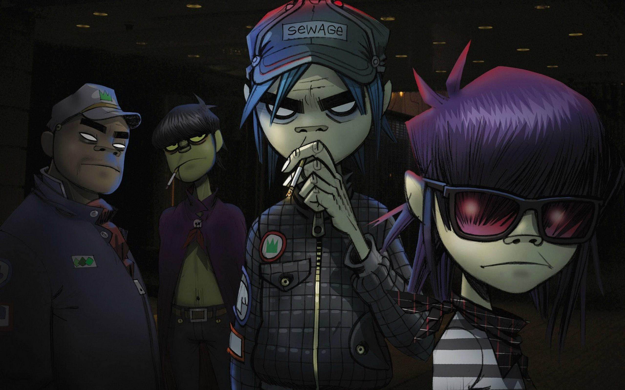 Download wallpapers Gorillaz, art, characters, English virtual band ...