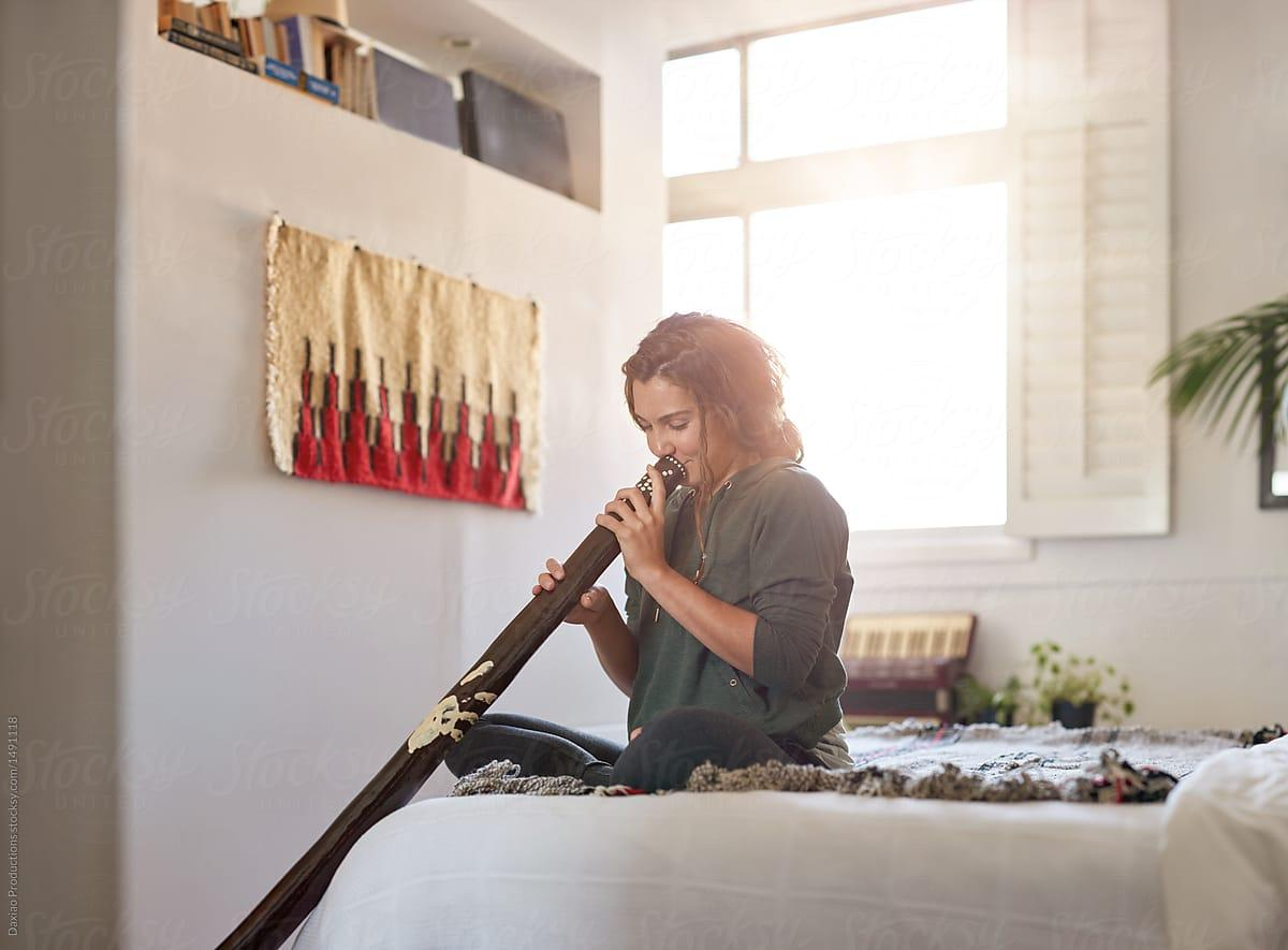 Alternative Unusual Musical Instrument Didgeridoo Player At Home ...