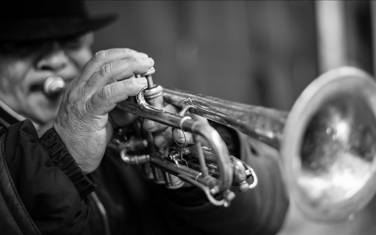 Download 1280x800 Trumpet, Instrument, Music, Monochrome Wallpapers