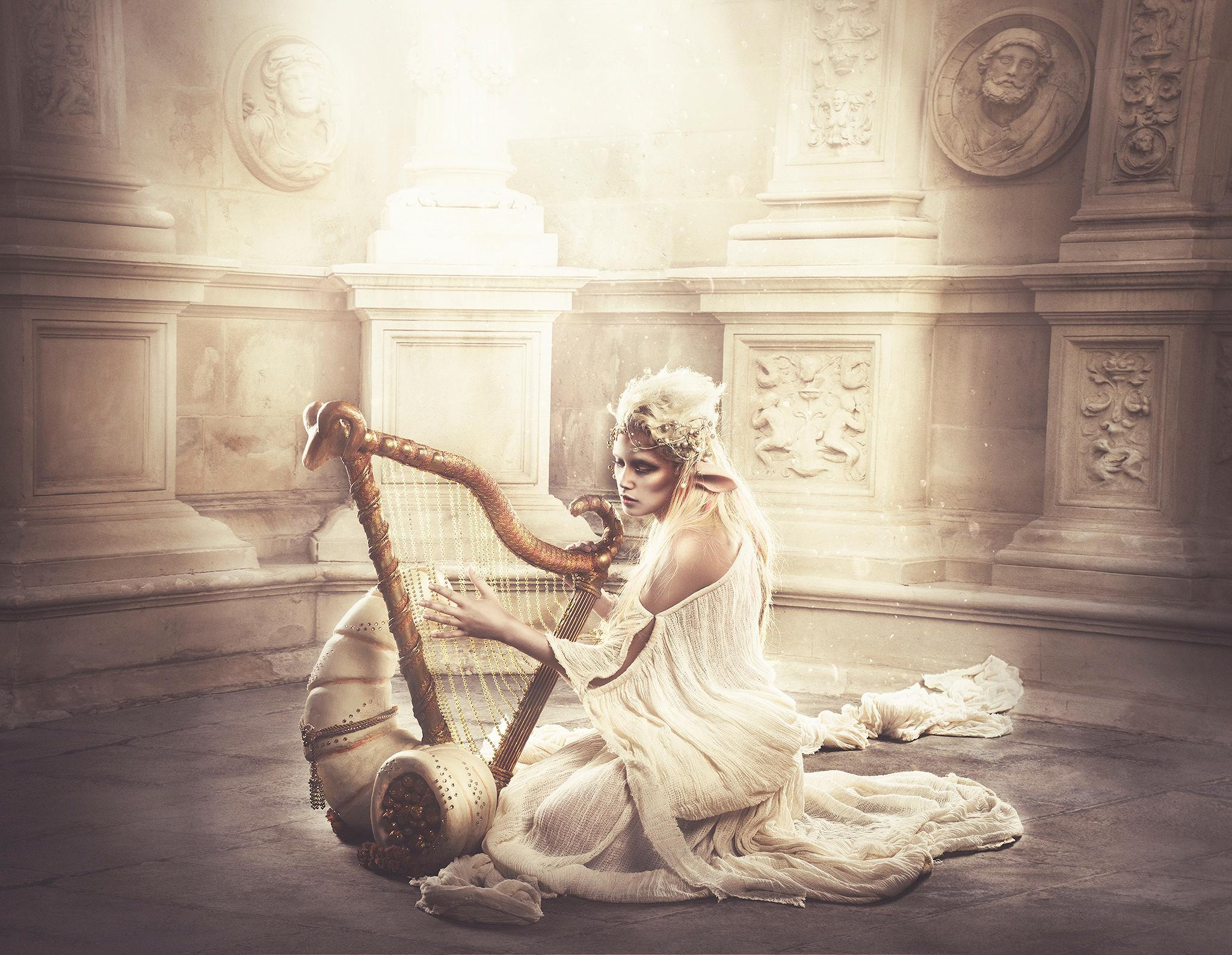 Golden elf with harp in fantasy land HD Wallpapers