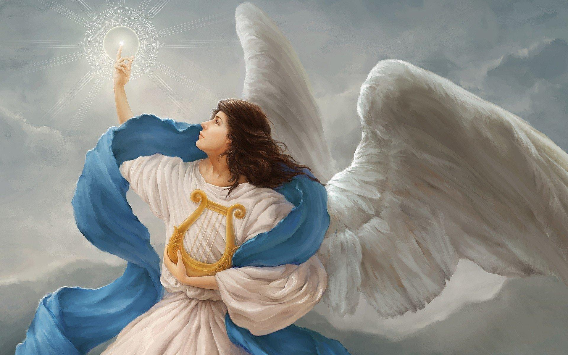light symbol angel clouds harp wings HD wallpapers