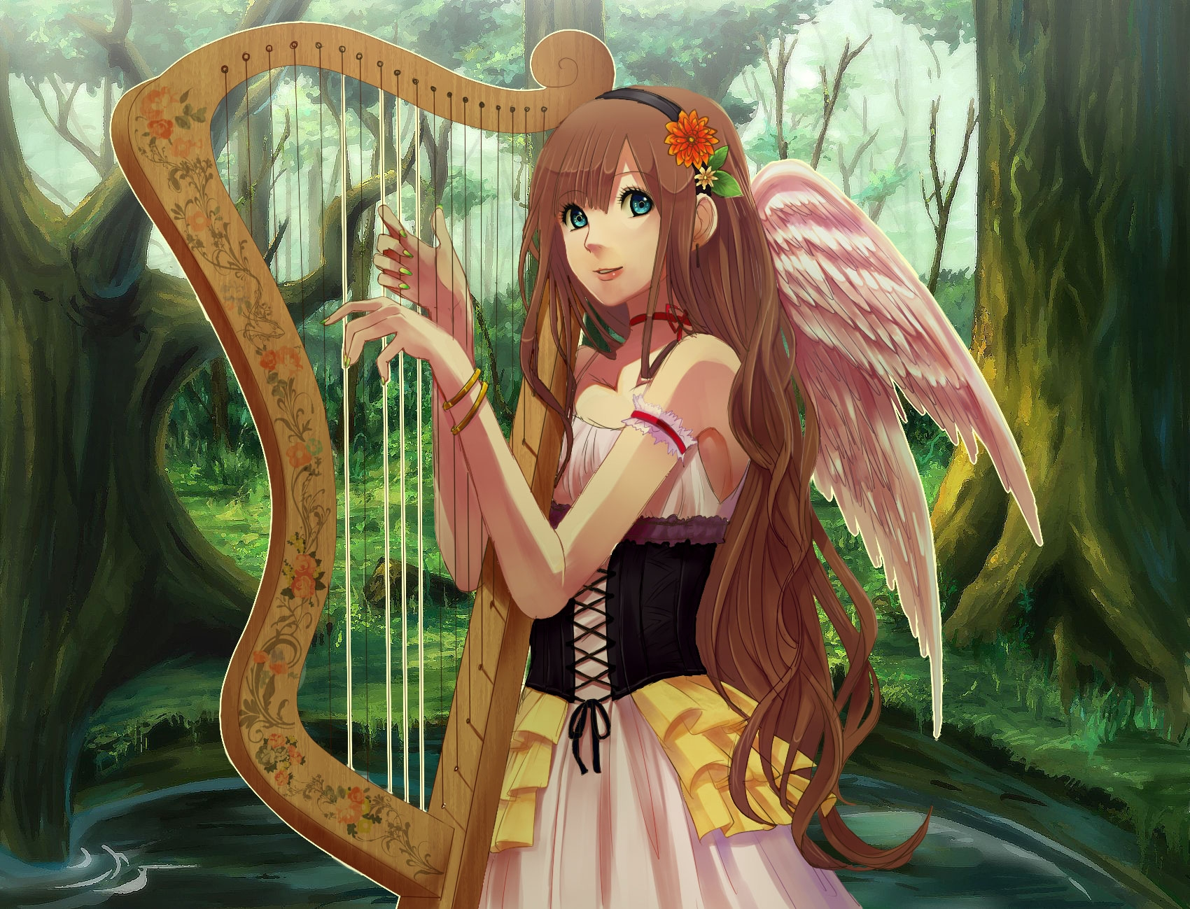 Download wallpapers 1700x1299 girl, harp, wings, smile, nature hd