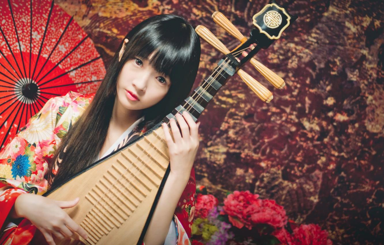 Wallpapers look, girl, umbrella, Asian, musical instrument, lute