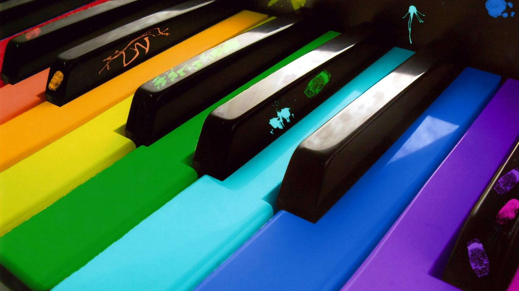 Download wallpaper 2048x1152 piano, colored, keys ultrawide monitor ...