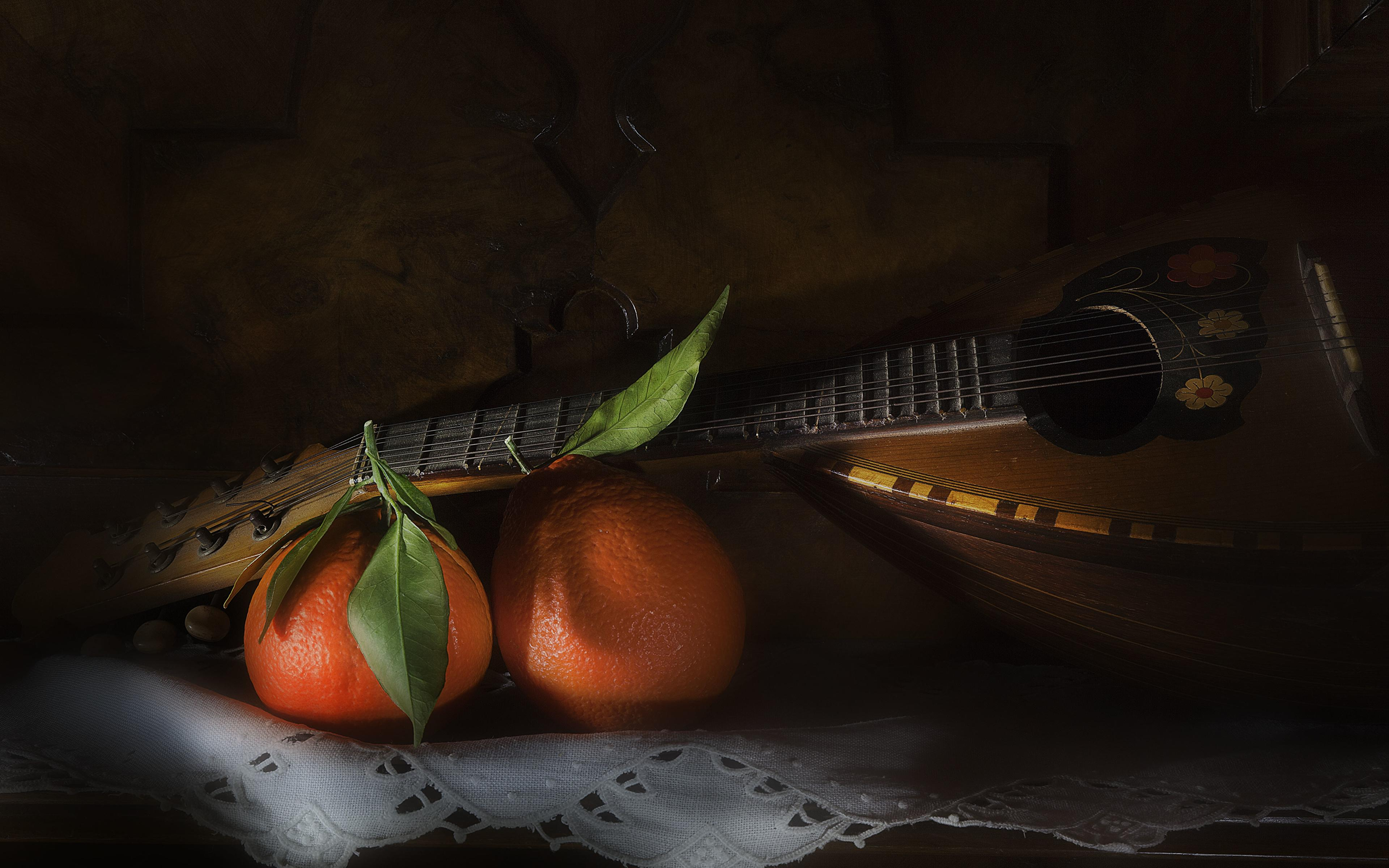Image Mandolin Orange fruit Food Musical Instruments 3840x2400